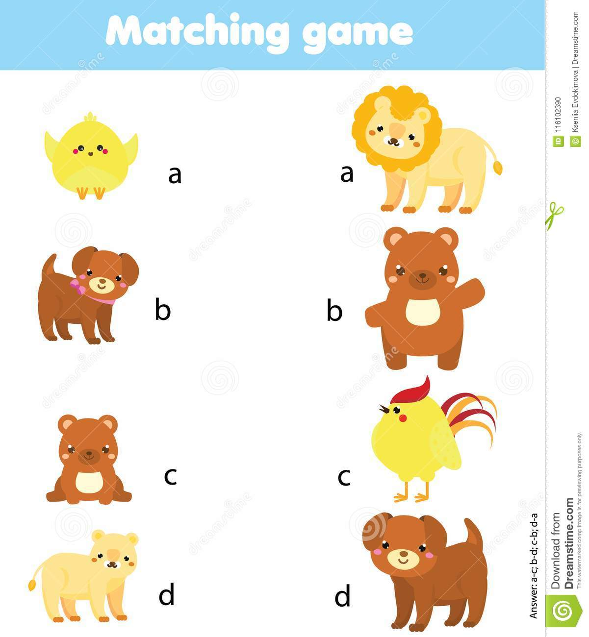 Jeu D Assortiment Parent Animal De Match Avec Le Bebe
