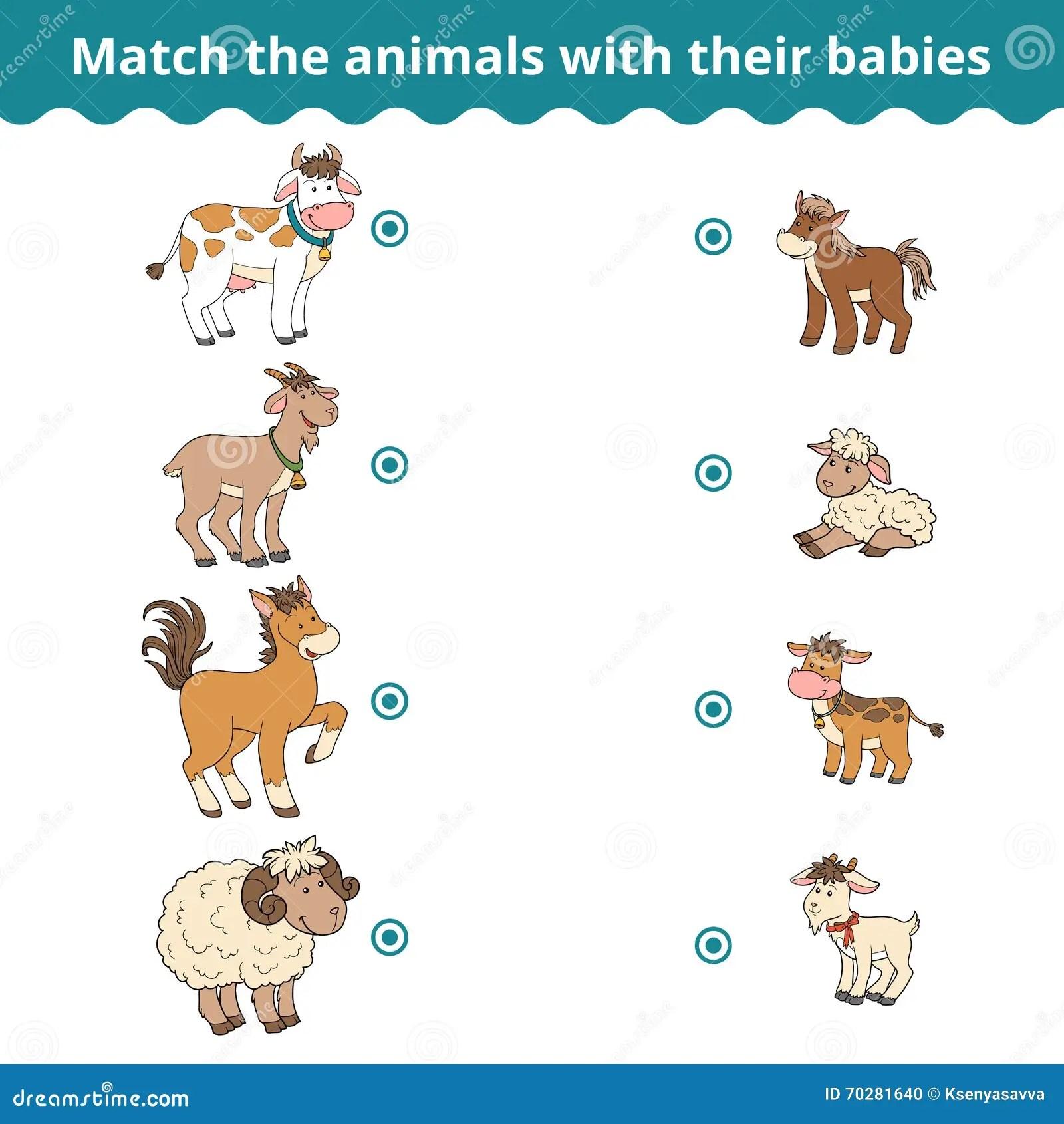 Jeu D Assortiment Pour Des Enfants Des Animaux De Ferme Et Des Bebes Illustration De Vecteur