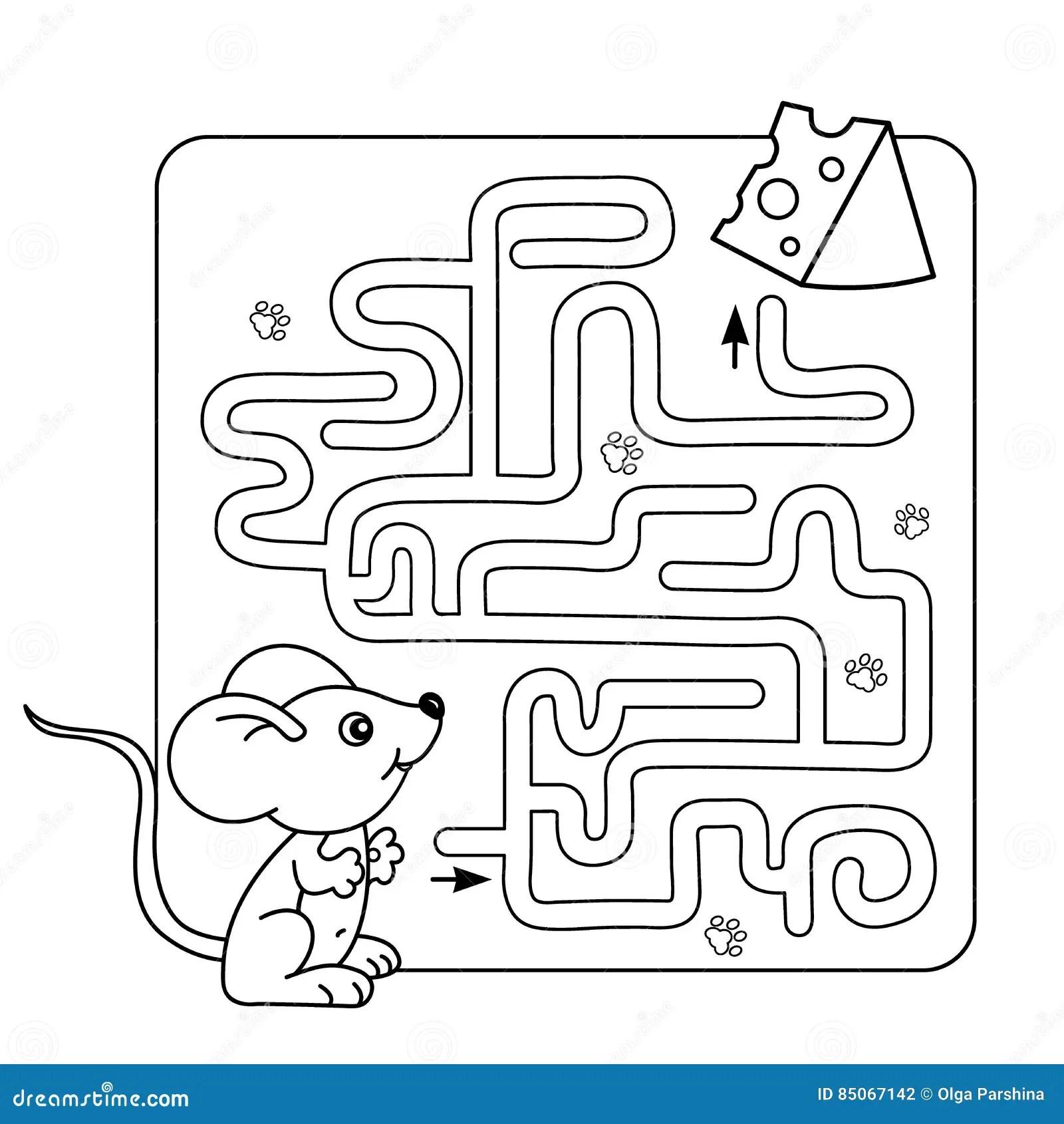 Jeu De Labyrinthe Ou De Labyrinthe Pour Les Enfants Prescolaires Puzzle Contour De Page De