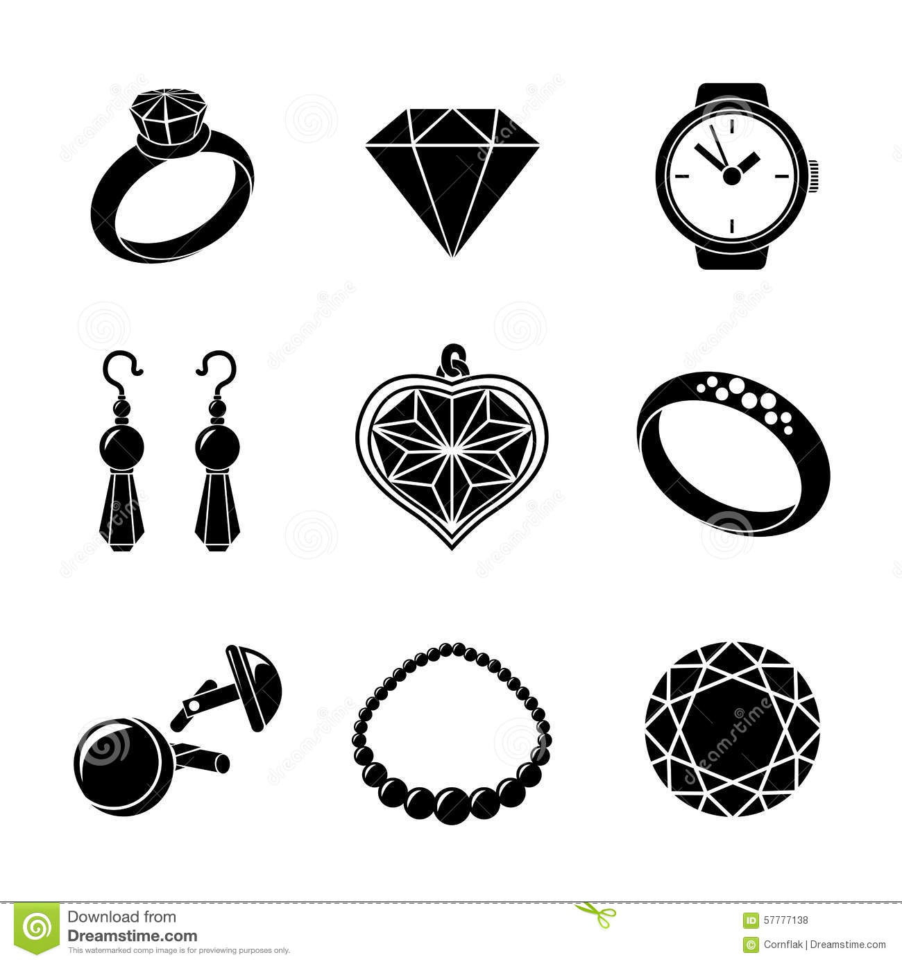 Jewelry Monochrome Icons Set With