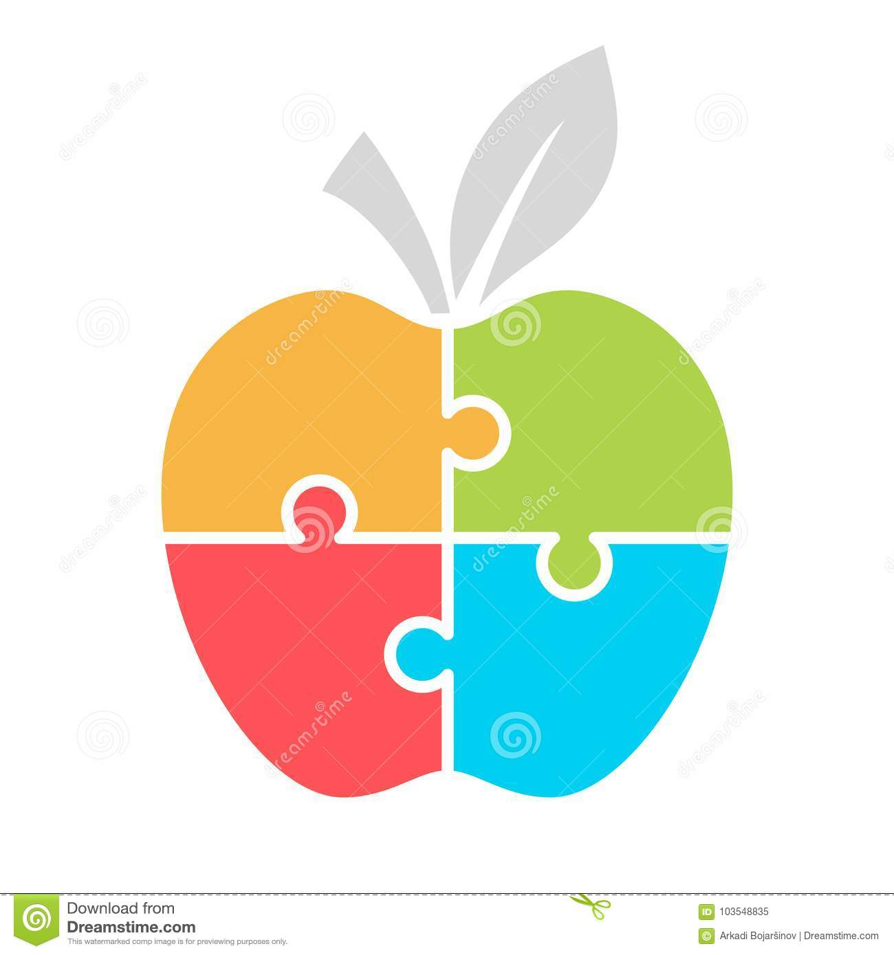 Jigsaw Puzzle Apple Template For Infographics Stock