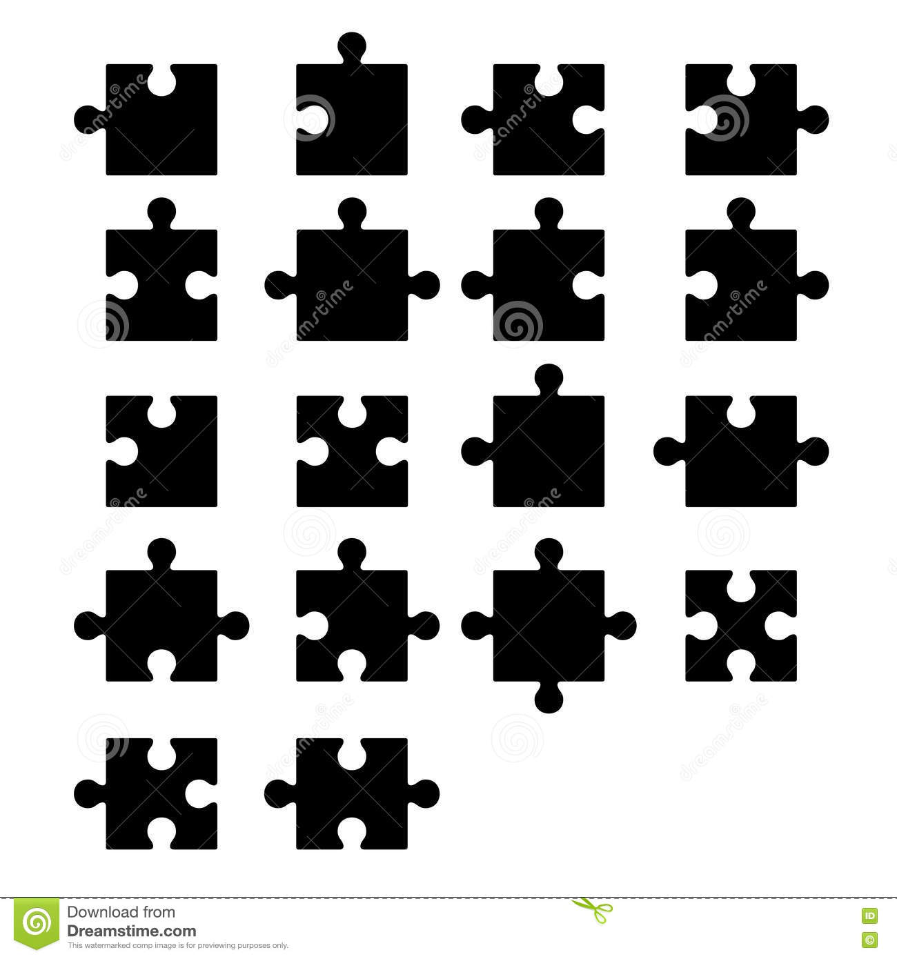 Jigsaw Puzzle Blank Parts Constructor Stock Vector
