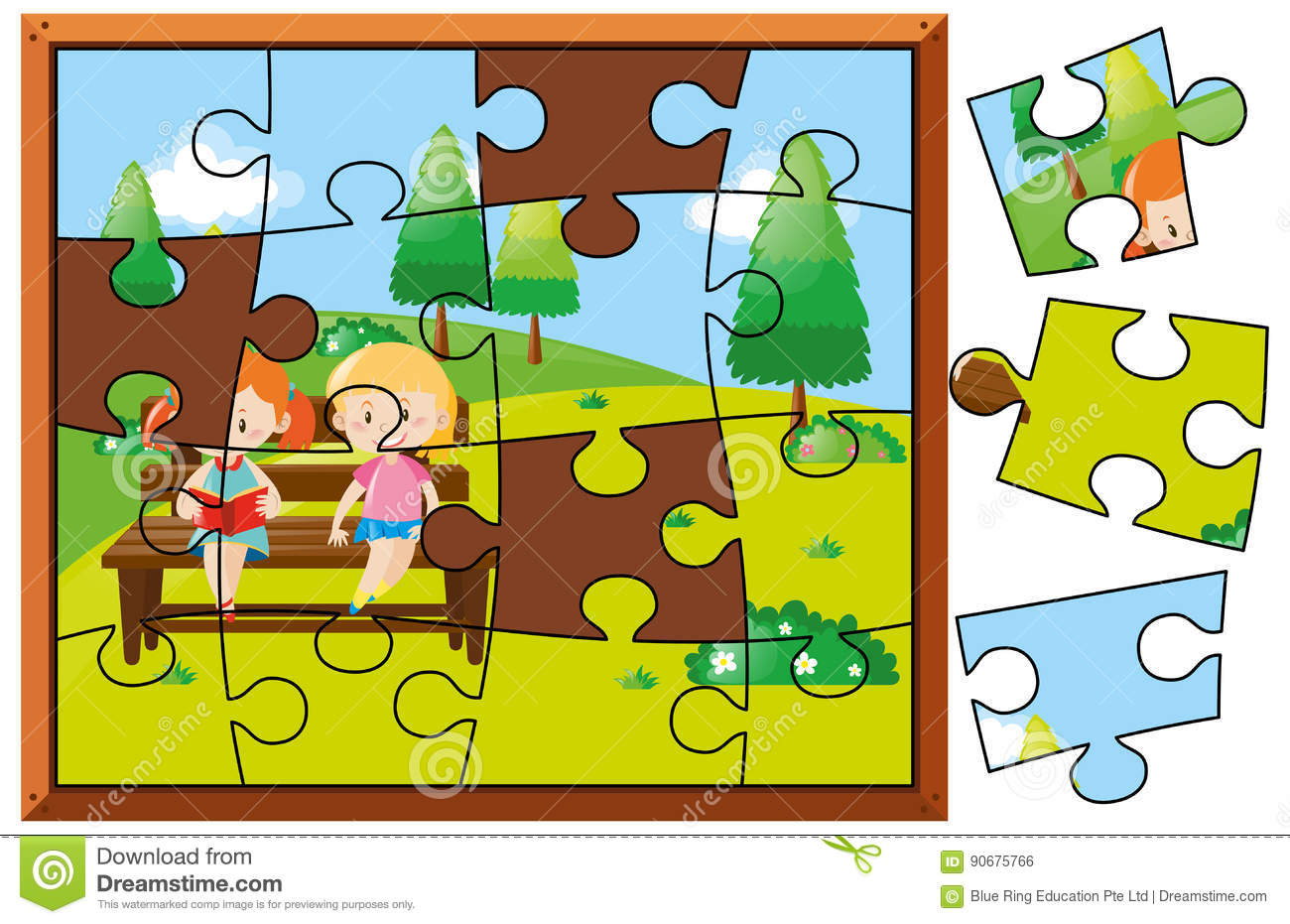Jigsaw Puzzle Pieces For Kids Reading In Park Stock Vector
