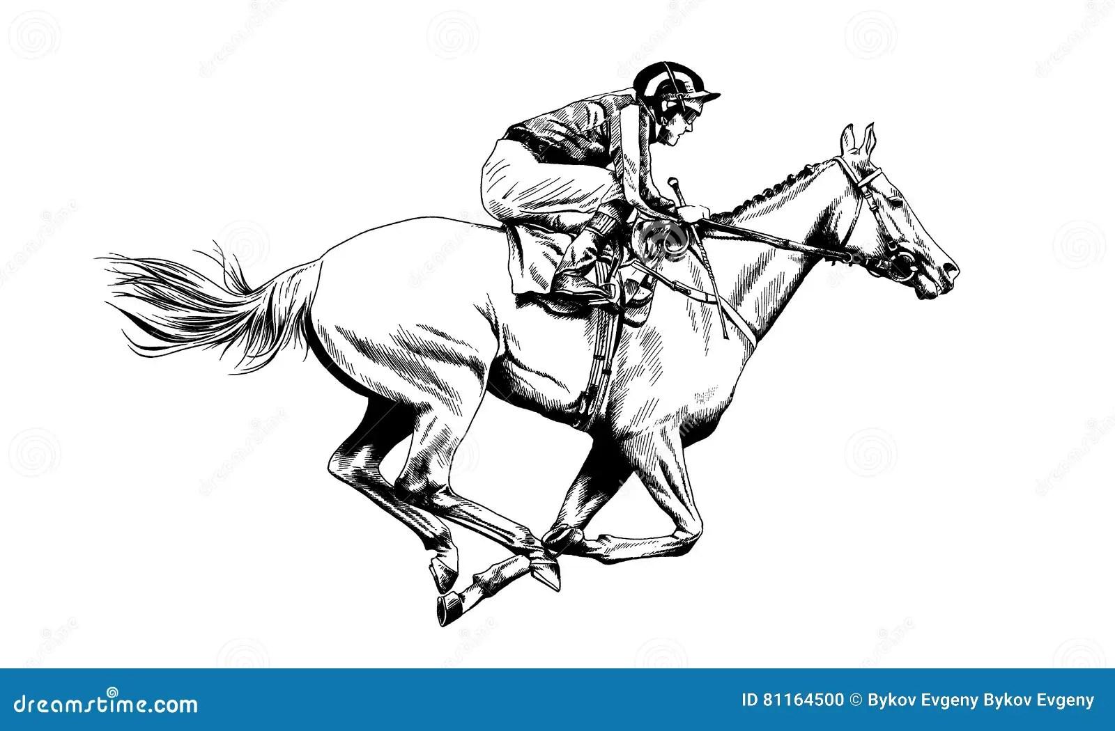Jockey On A Horse Drawn Stock Vector Illustration Of