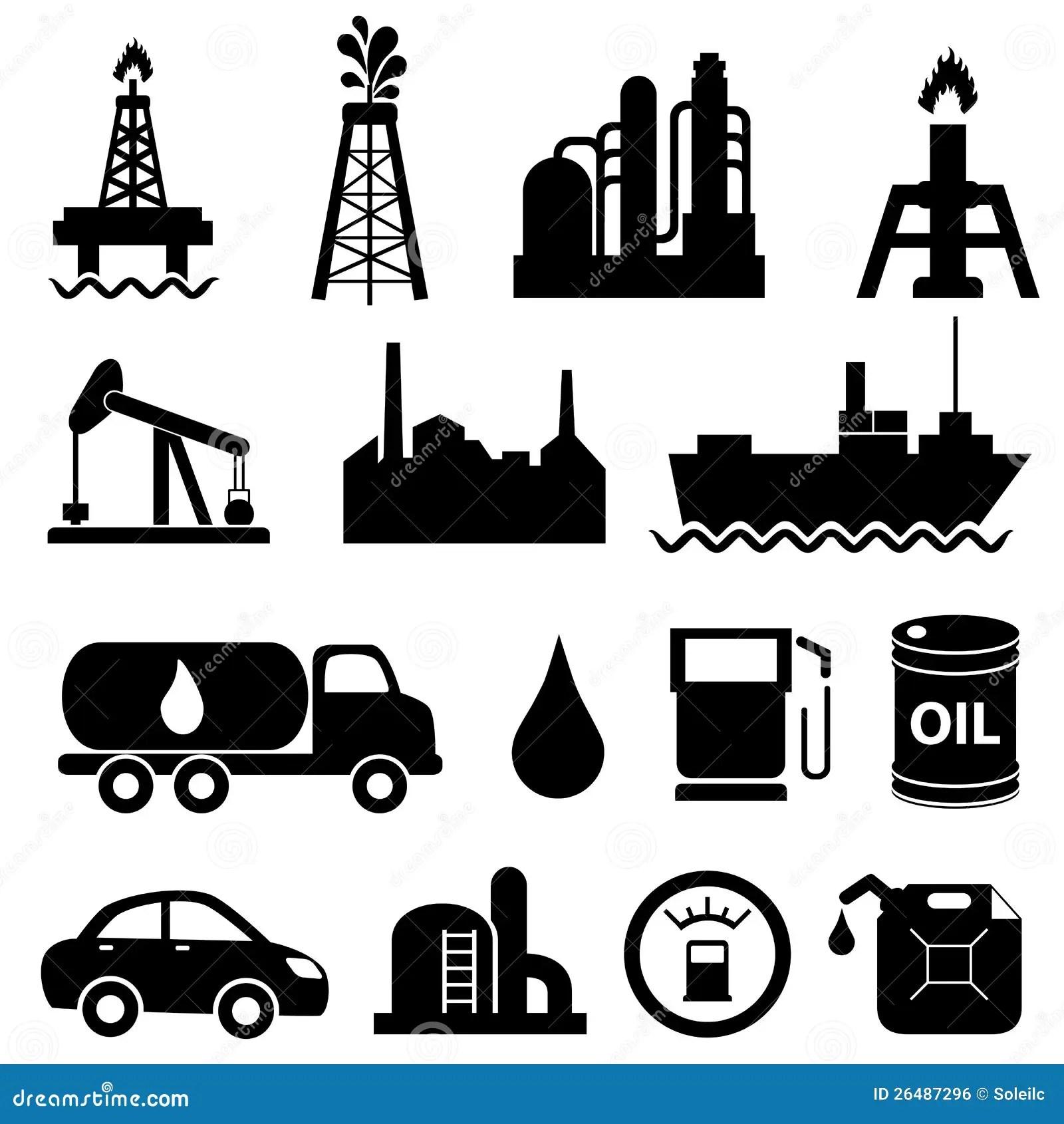 Jogo Do Icone Da Industria Petroleira Ilustracao Do Vetor