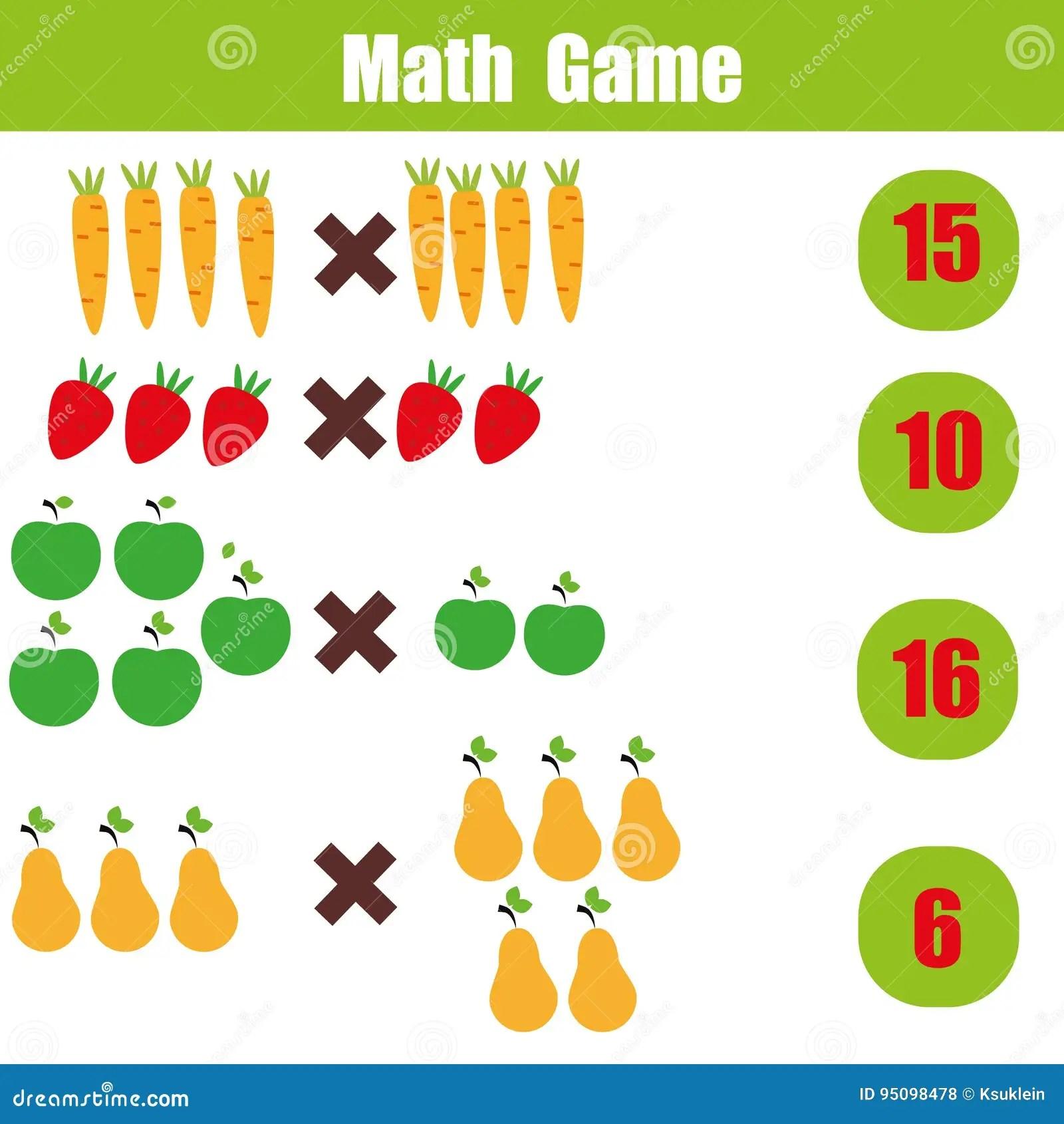 Jogo Educacional Para Criancas Folha Da Matematica Da