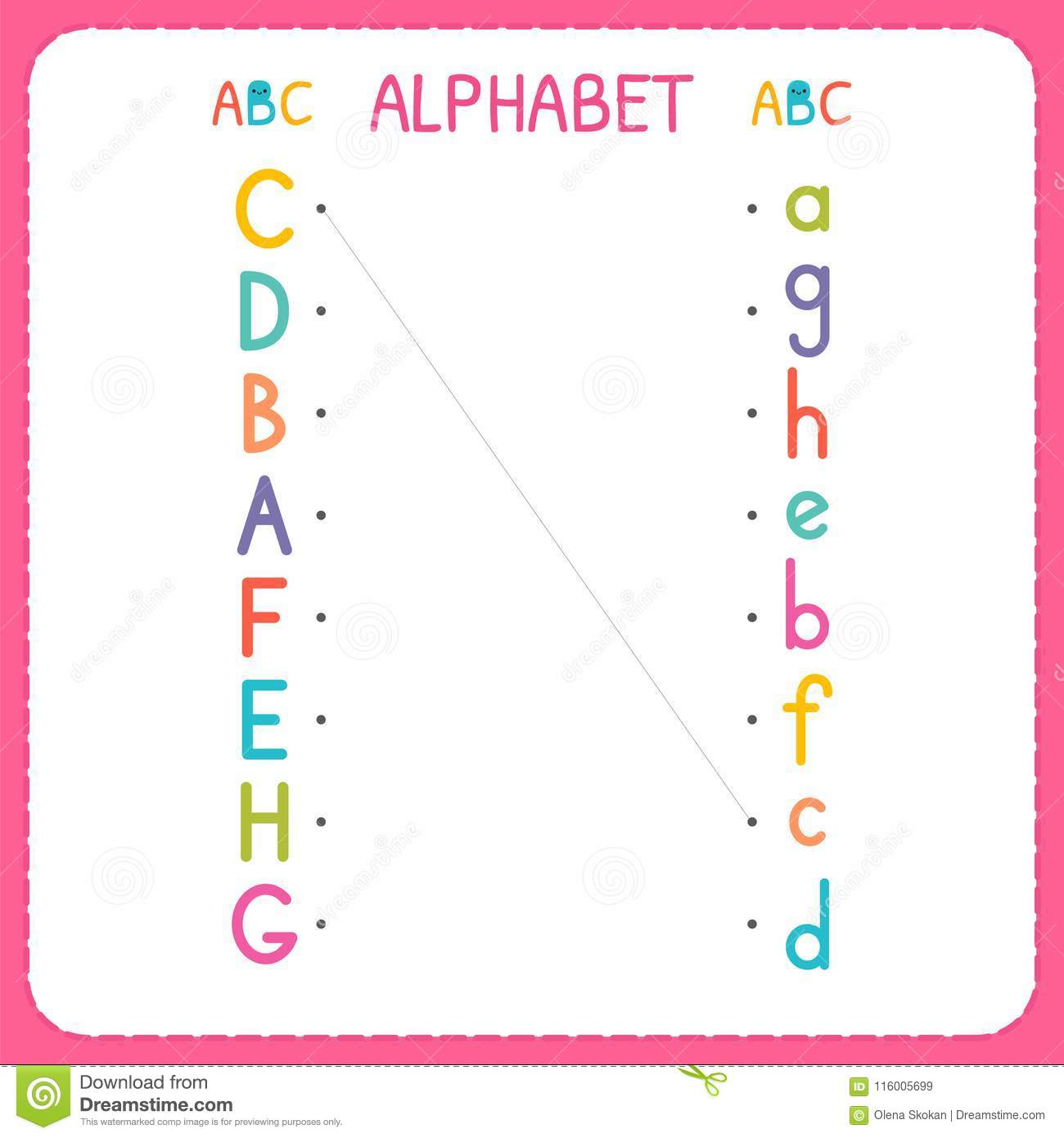 Join Each Capital Letter With The Lowercase Letter From A To H Worksheet For Kindergarten And