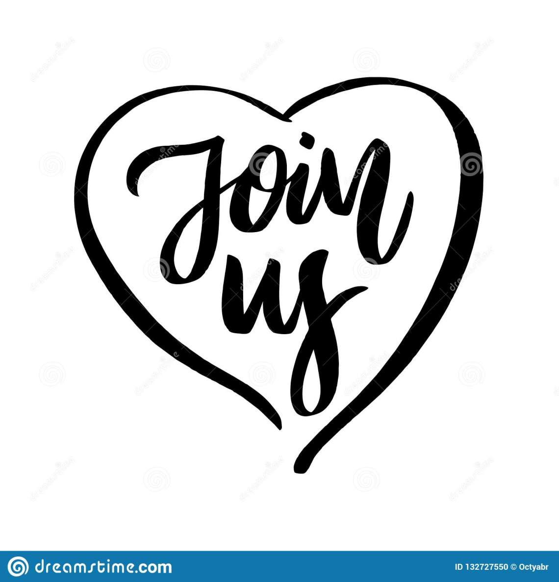Download Join Us And Heart Love. Hand Drawn Vector Lettering Stock ...