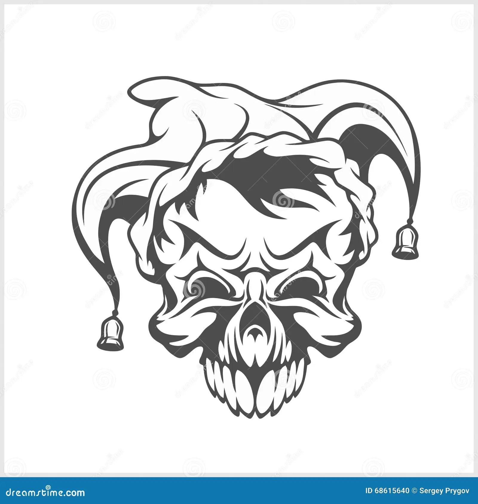 Joker Skull Wearing A Clown Jesters Cap Hat With Two Bells