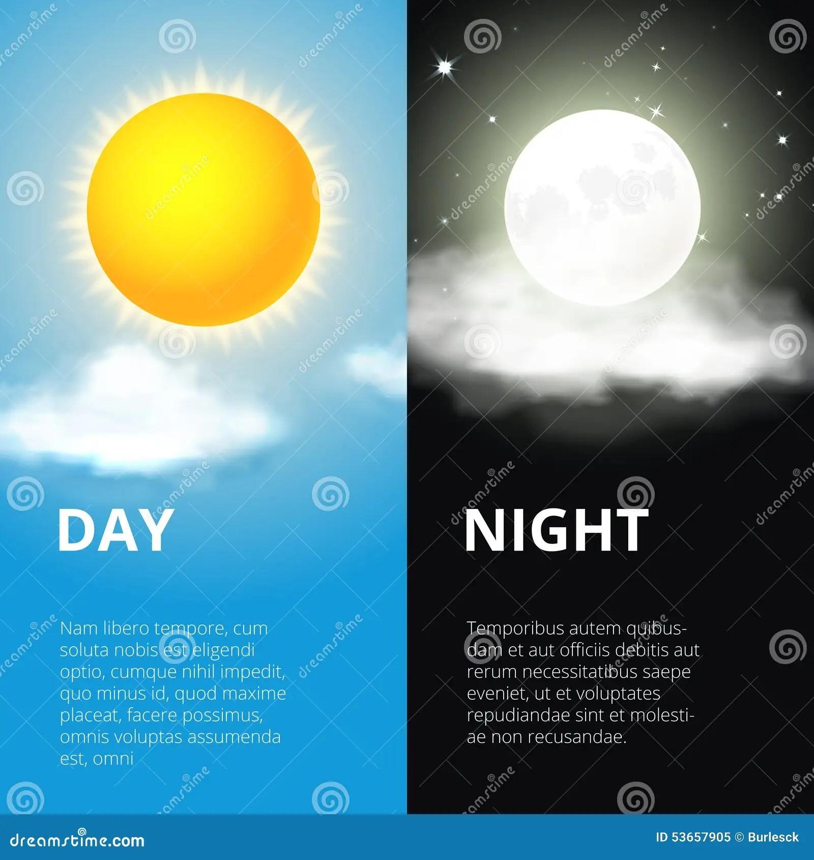 Jour Et Nuit Lune Du Soleil Illustration De Vecteur