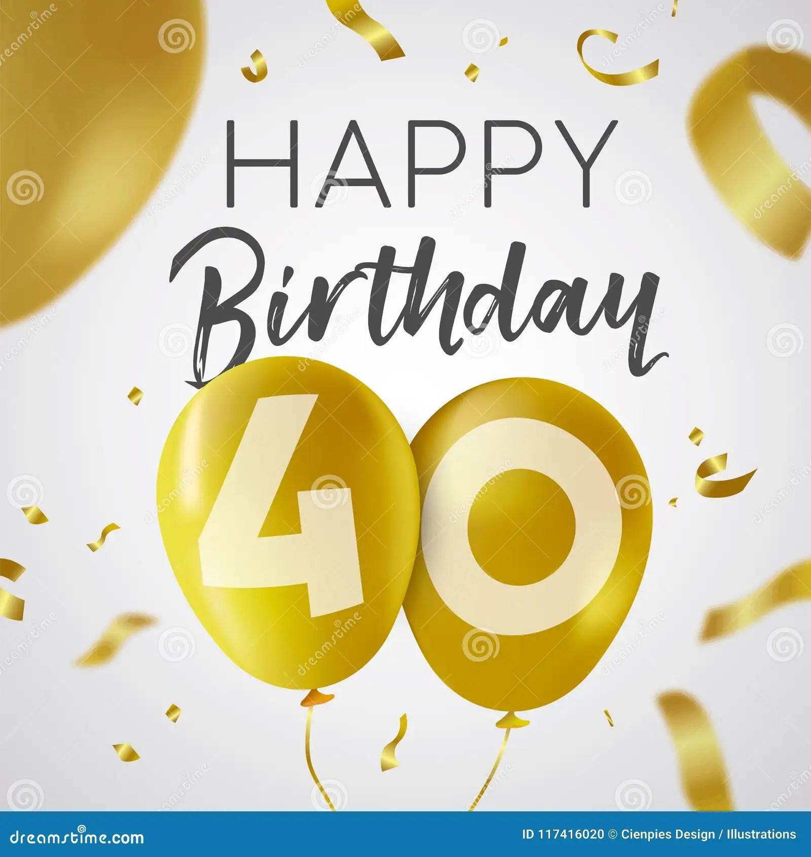 https fr dreamstime com joyeux anniversaire carte ballon d or quarante ans image117416020