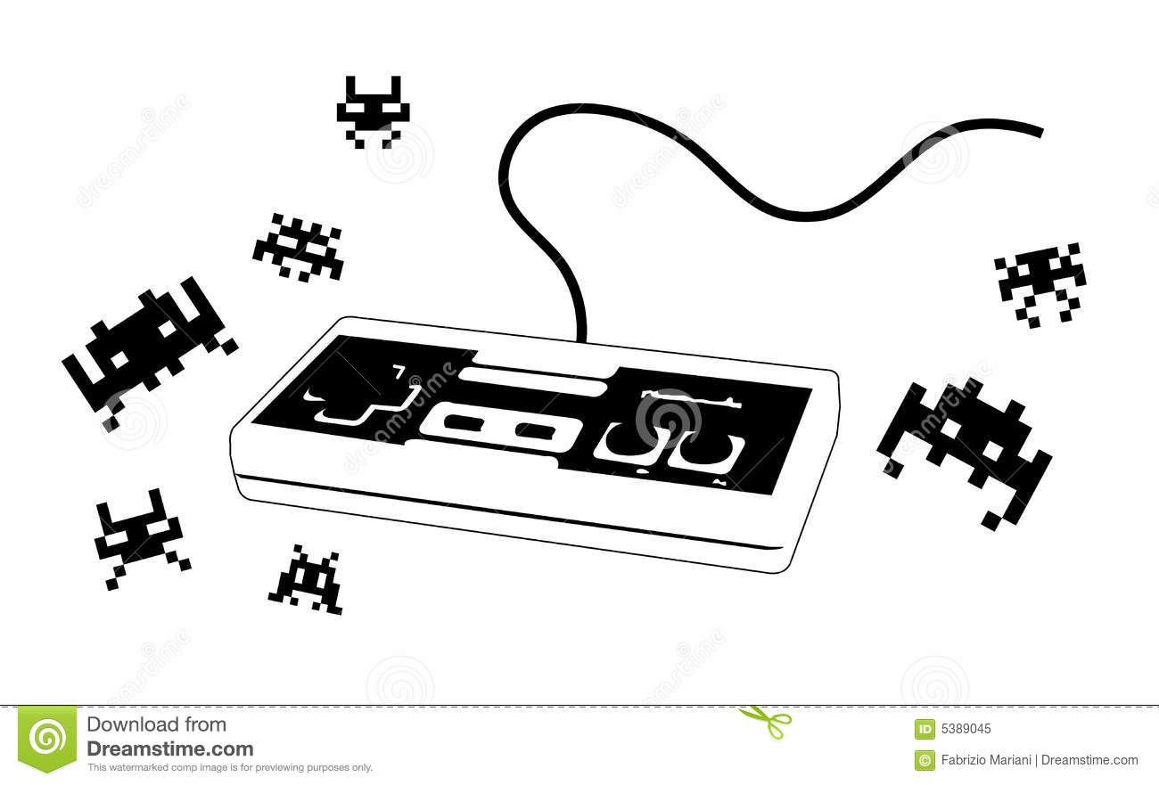 Joypad For Videogame With Enemies Royalty Free Stock Photo