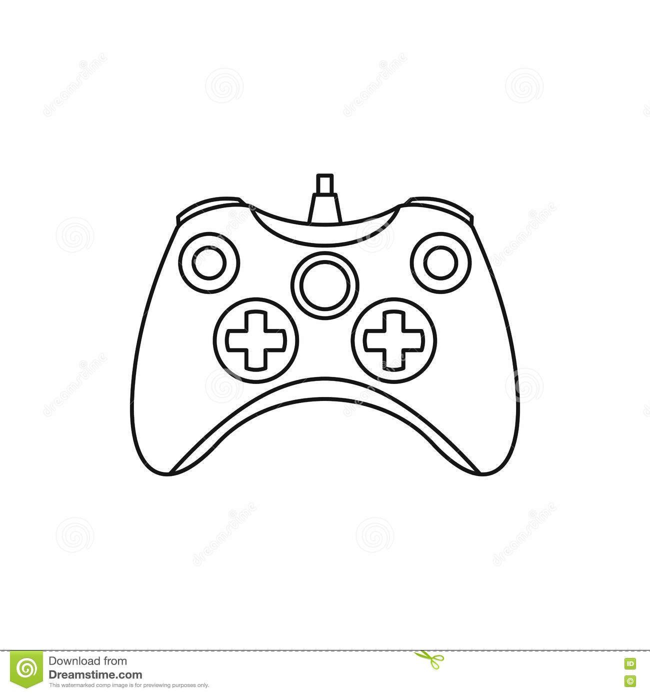 Joystick Game Controller Icon Outline Style Stock Vector