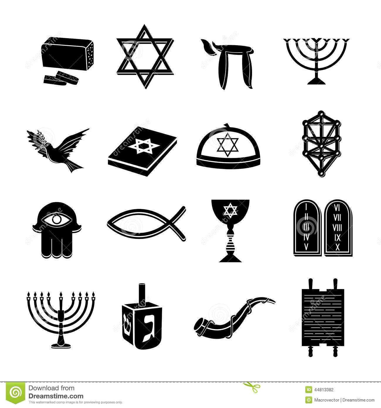 Judaism Icons Set Black Stock Vector Illustration Of Site