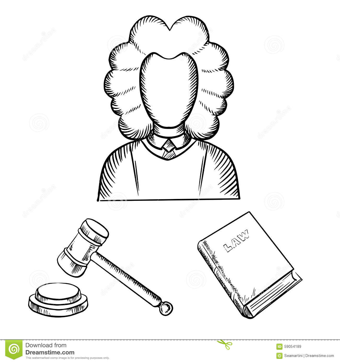 Judge Gavel And Law Book Sketches Stock Vector