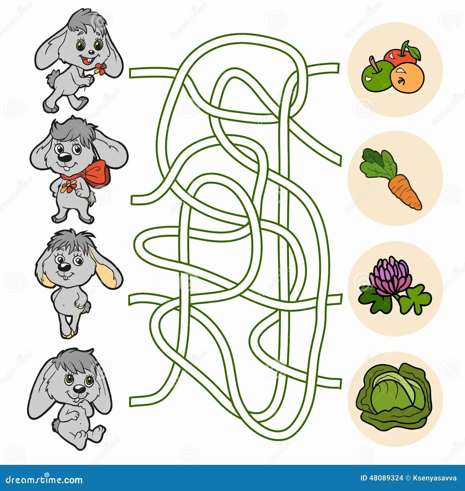 Juego Del Laberinto Para Los Ninos Conejos Ilustracion