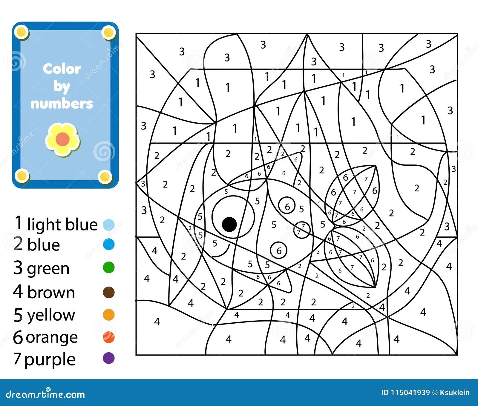 Juego Educativo De Los Ninos E Color Por Numeros