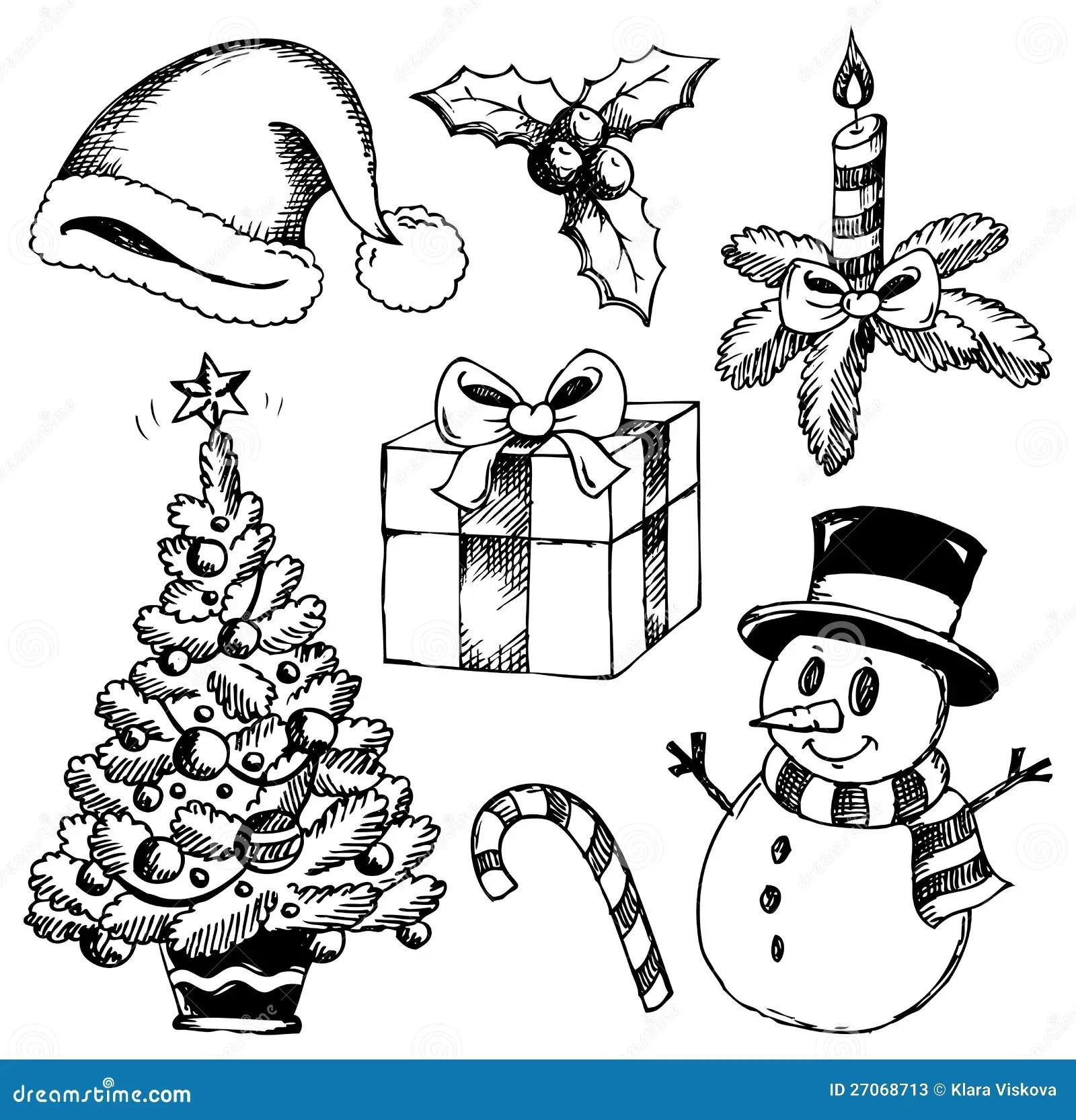 Jul Stylized Teckningar 1 Vektor Illustrationer