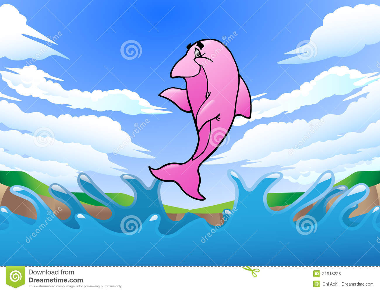 Jumping Pink Dolphin Stock Illustration Image Of Diving