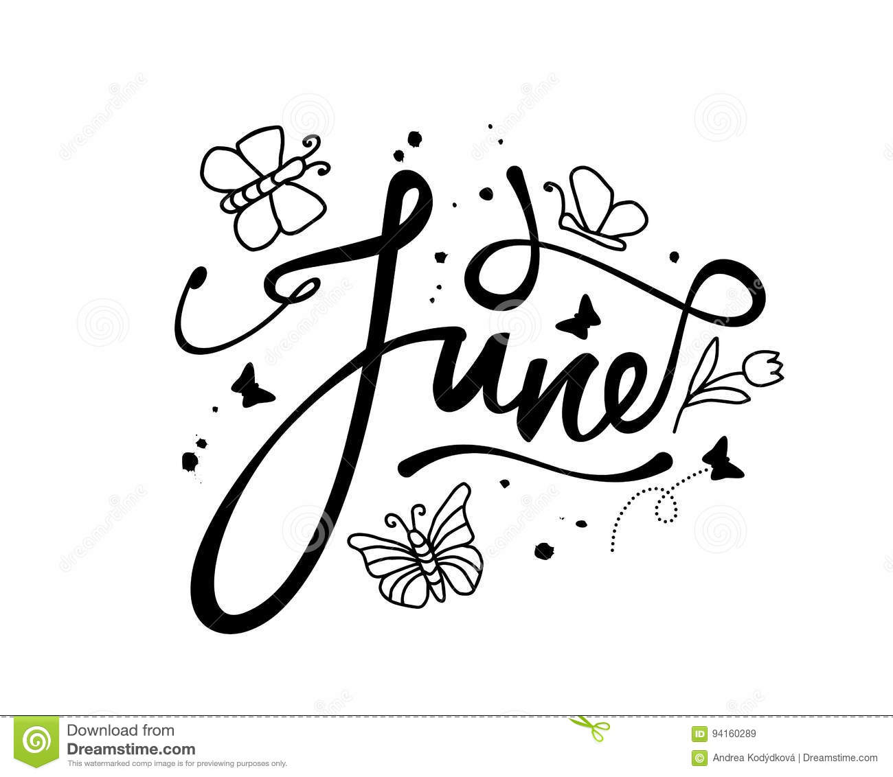 June Decorative Word With Doodles On White Background