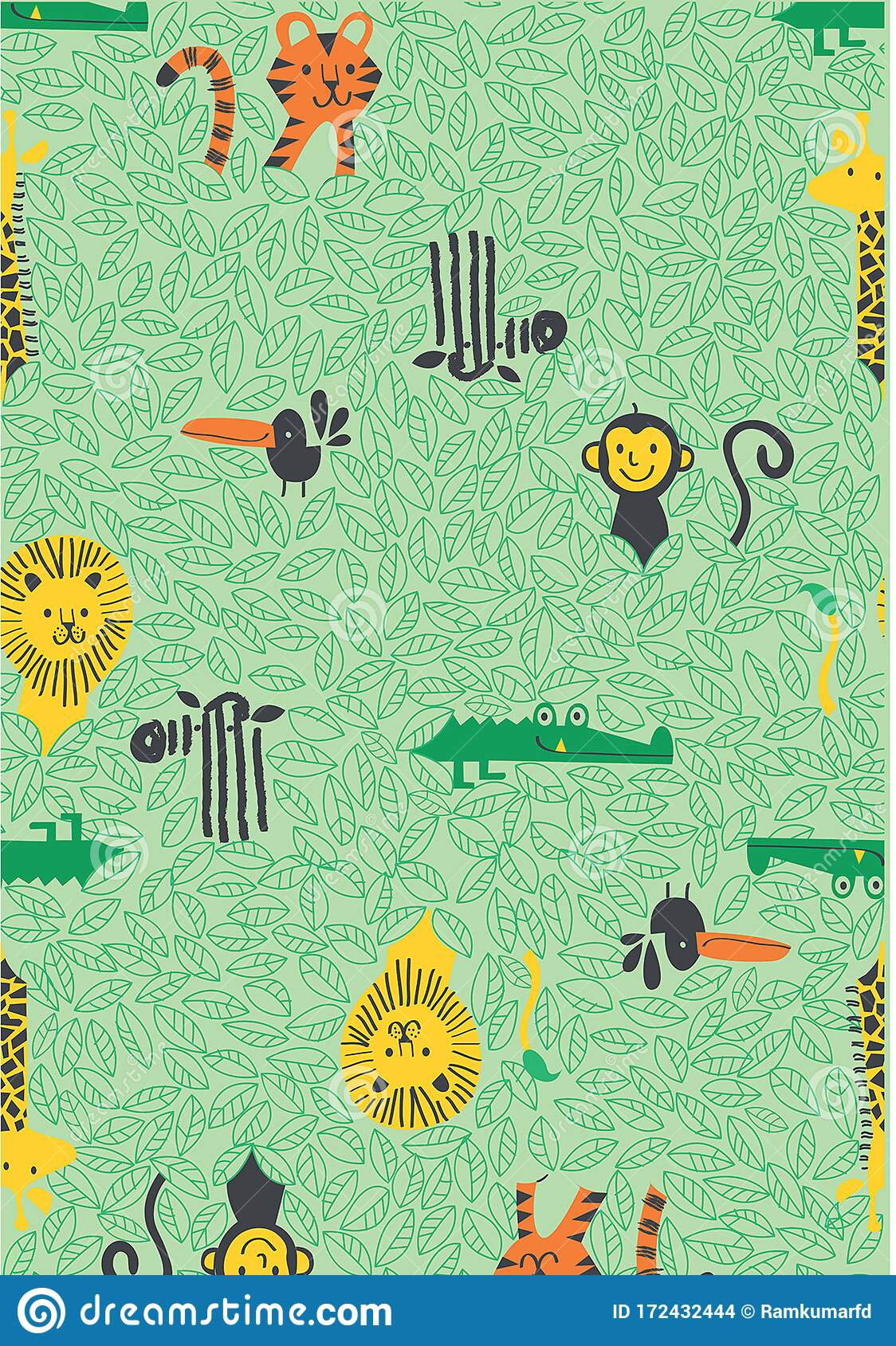Jungle Animals Indian Ethnic Forest Seamless Pattern For