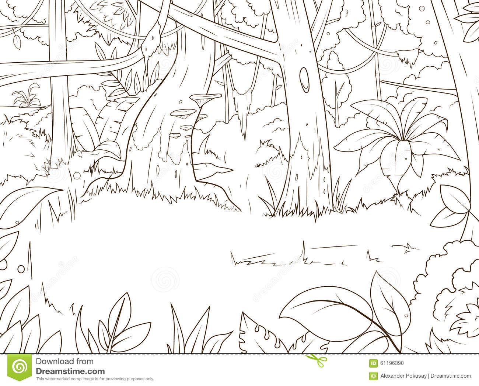 Jungle Forest Cartoon Coloring Book Vector Stock Vector