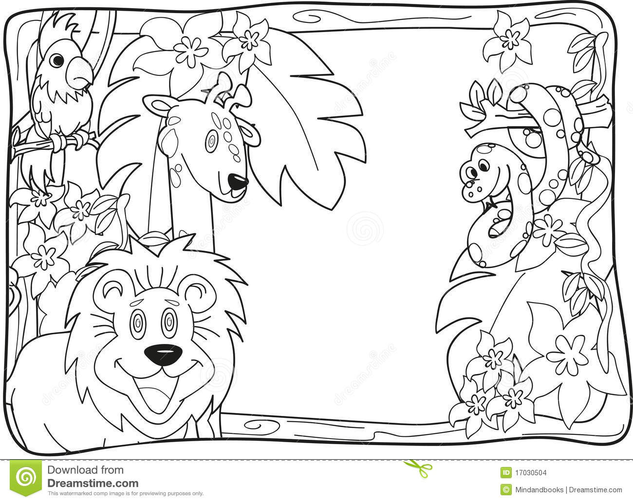 Jungle Invitation Lineart Stock Illustration Illustration