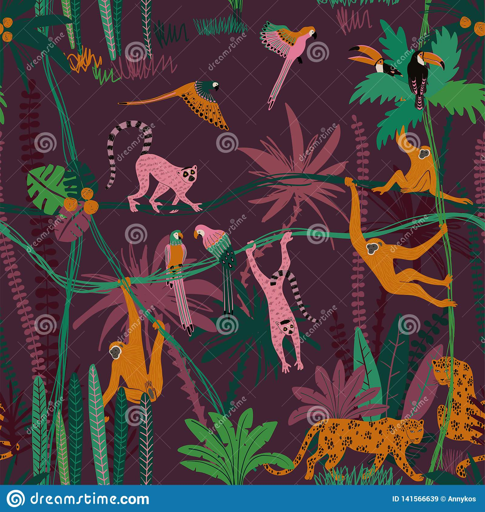 Jungle Wildlife Animals Seamless Pattern Stock Vector