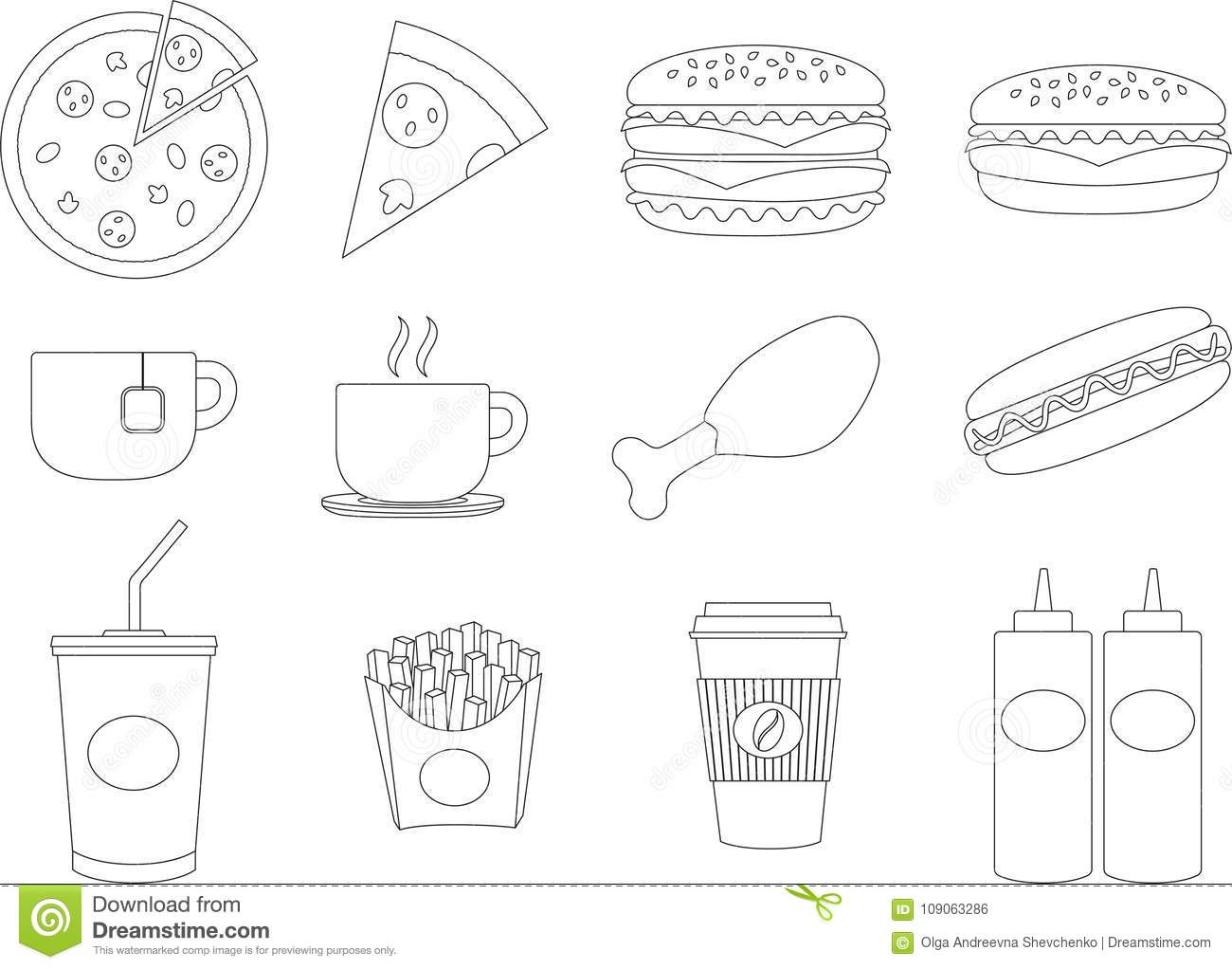 Paper Cup With Soda And Hotdog Vector Illustration