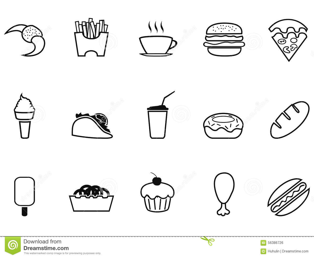 Junk Food Fast Food Outline Icons Set Stock Vector