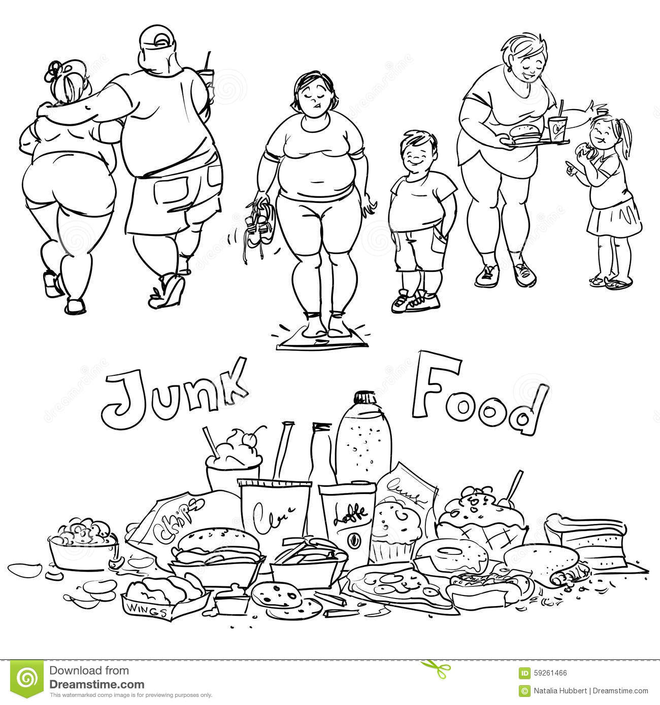 Junk Food And Obese People Stock Vector