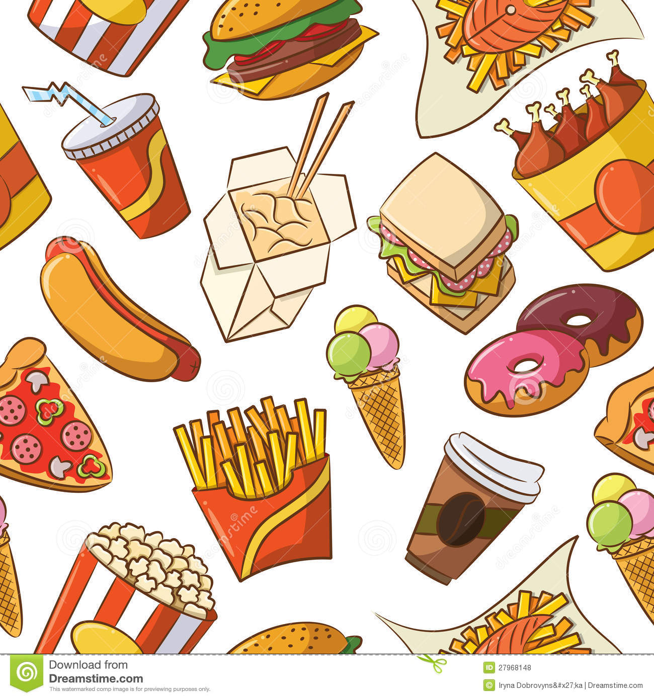 Junk Food Seamless Pattern Stock Vector Image Of Lunch