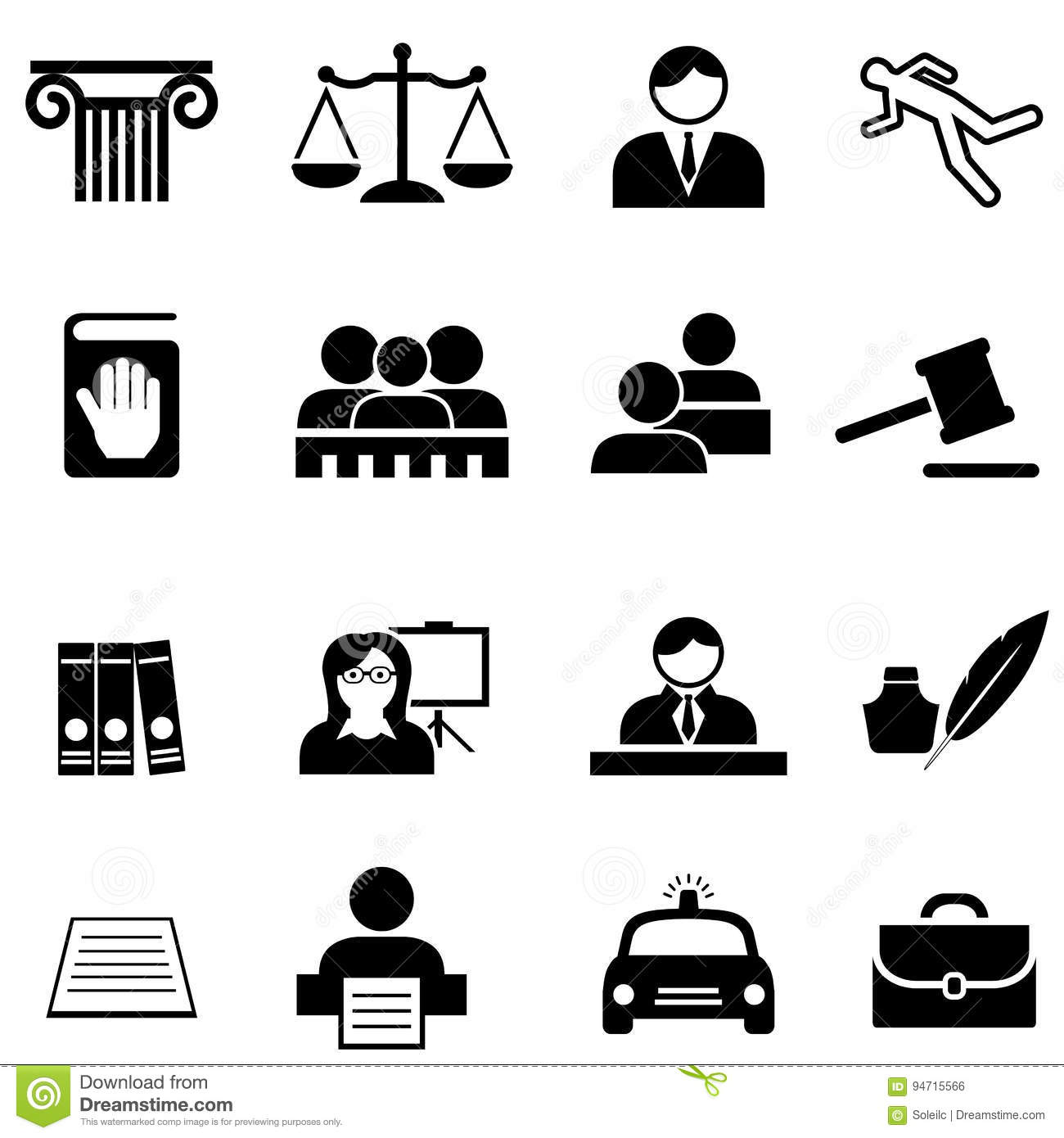 Justice Legal Law And Lawyer Icon Set Stock Vector