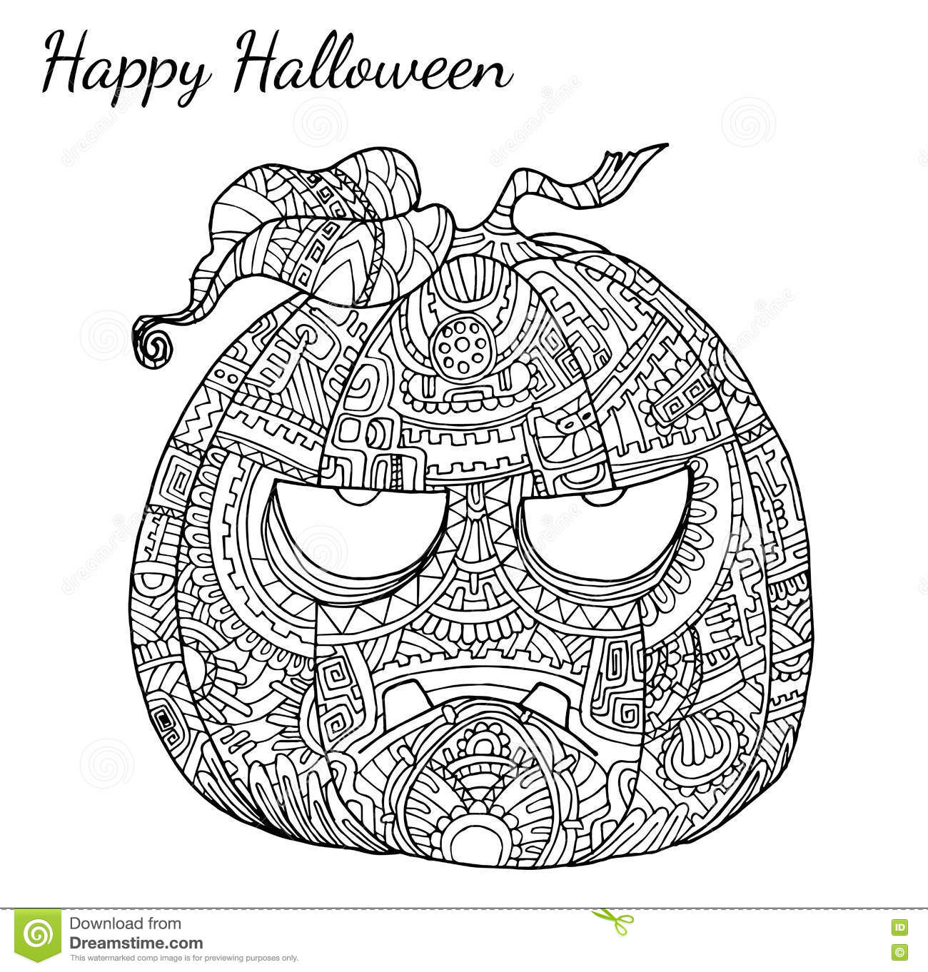 Kurbis Zentangle Vektor In Halloween Vektor Abbildung
