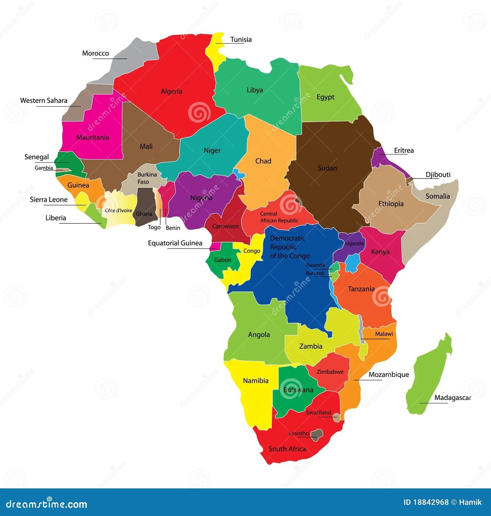 Kaart Van Afrika Vector Illustratie Illustratie Bestaande