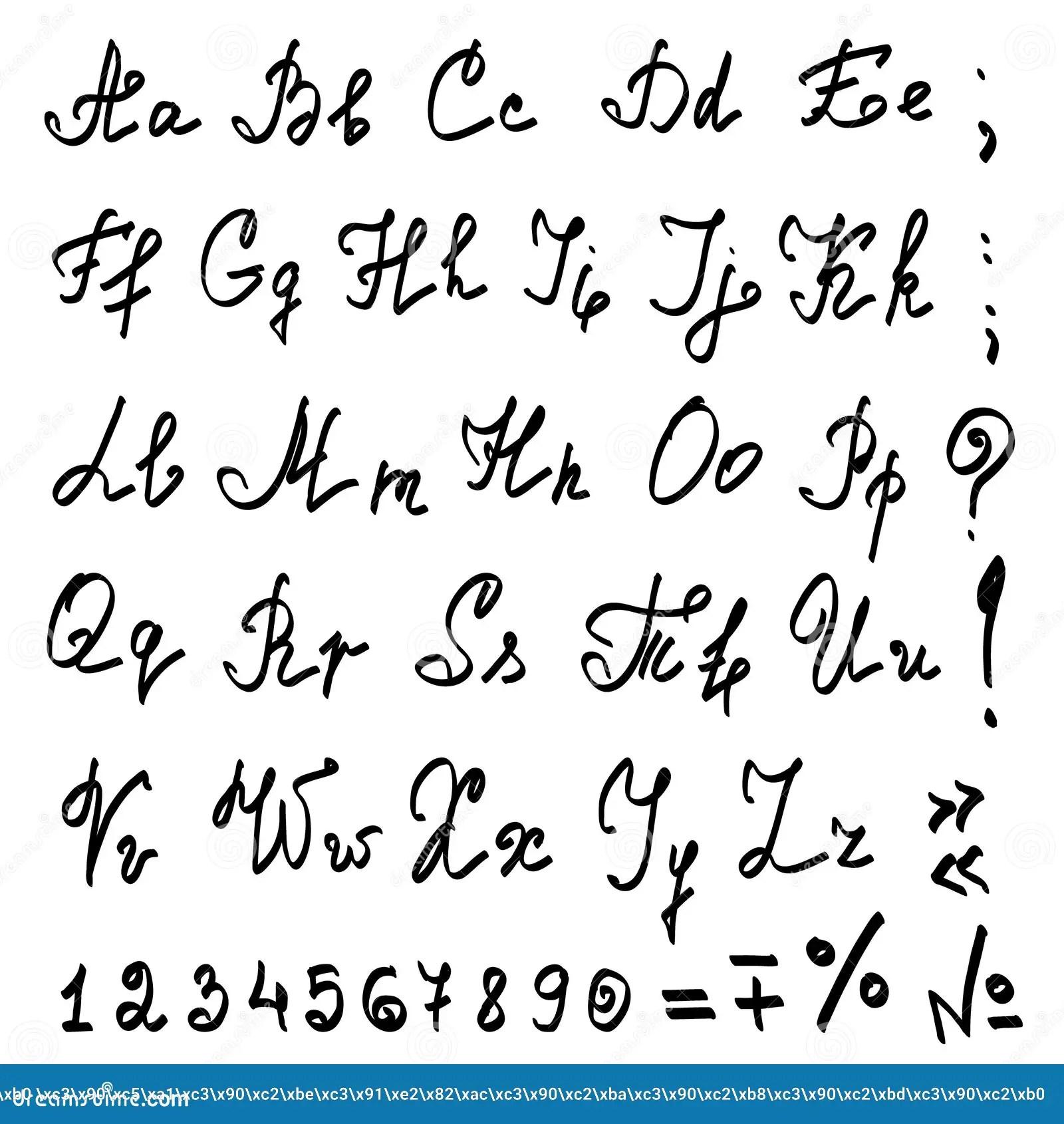 Kalligraphisches Alphabet Wirkliche Hand Des Vektors