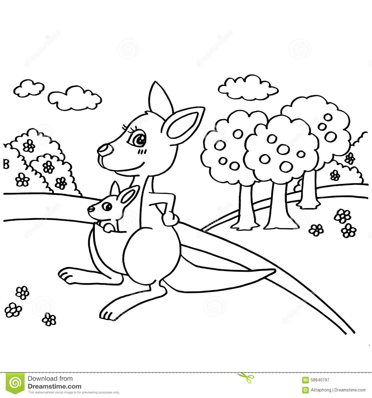 Kangaroo Coloring Pages Vector Stock Vector