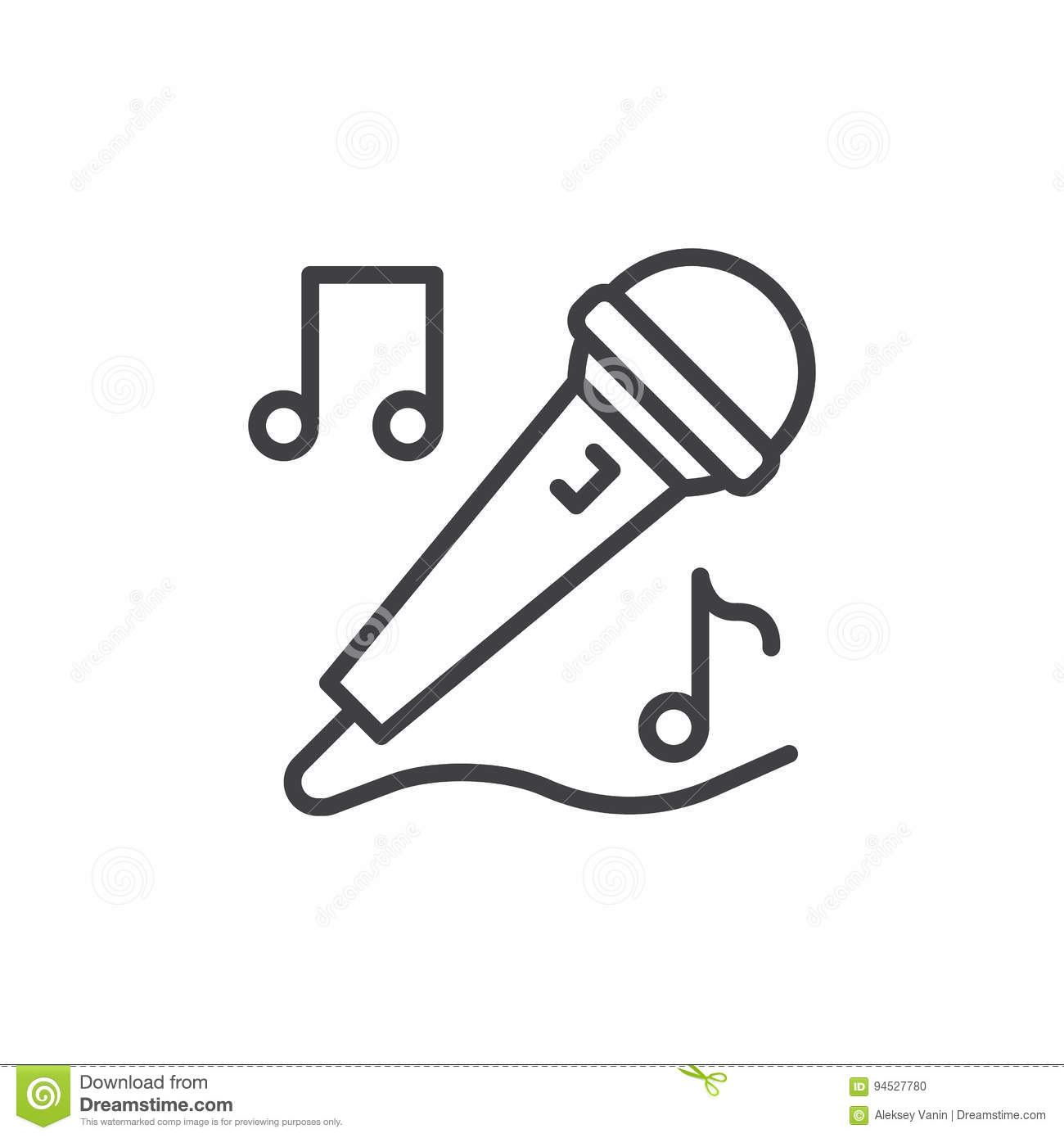 Karaoke Microphone Line Icon Outline Vector Sign Linear