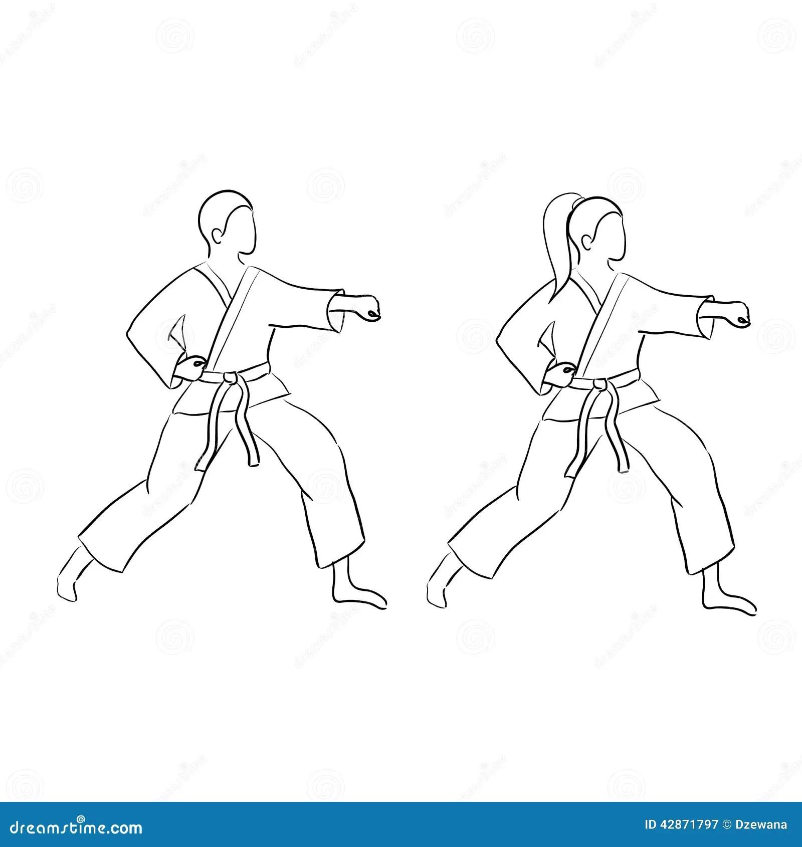 Karate Doodle Man And Woman Stock Vector