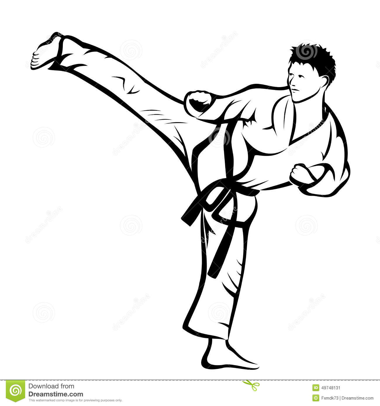 Karate Kick Stock Vector Image Of Karate Karatman Body