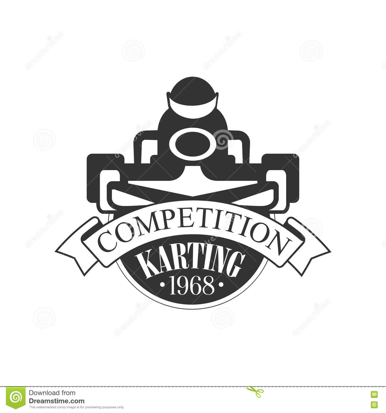 Karting Club Competition Black And White Logo Design