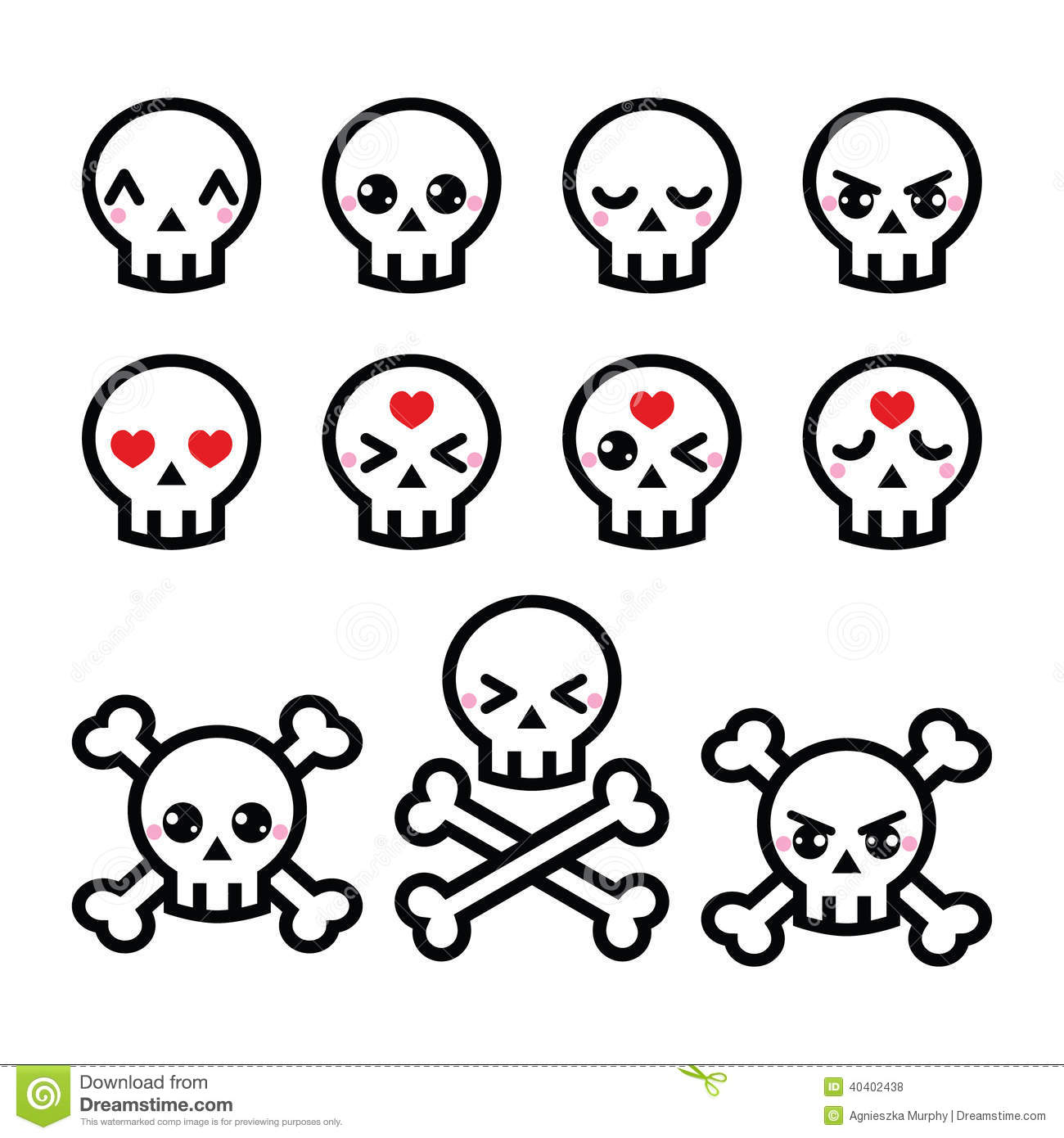 Kawaii Cute Halloween Skull Icons Set Stock Vector