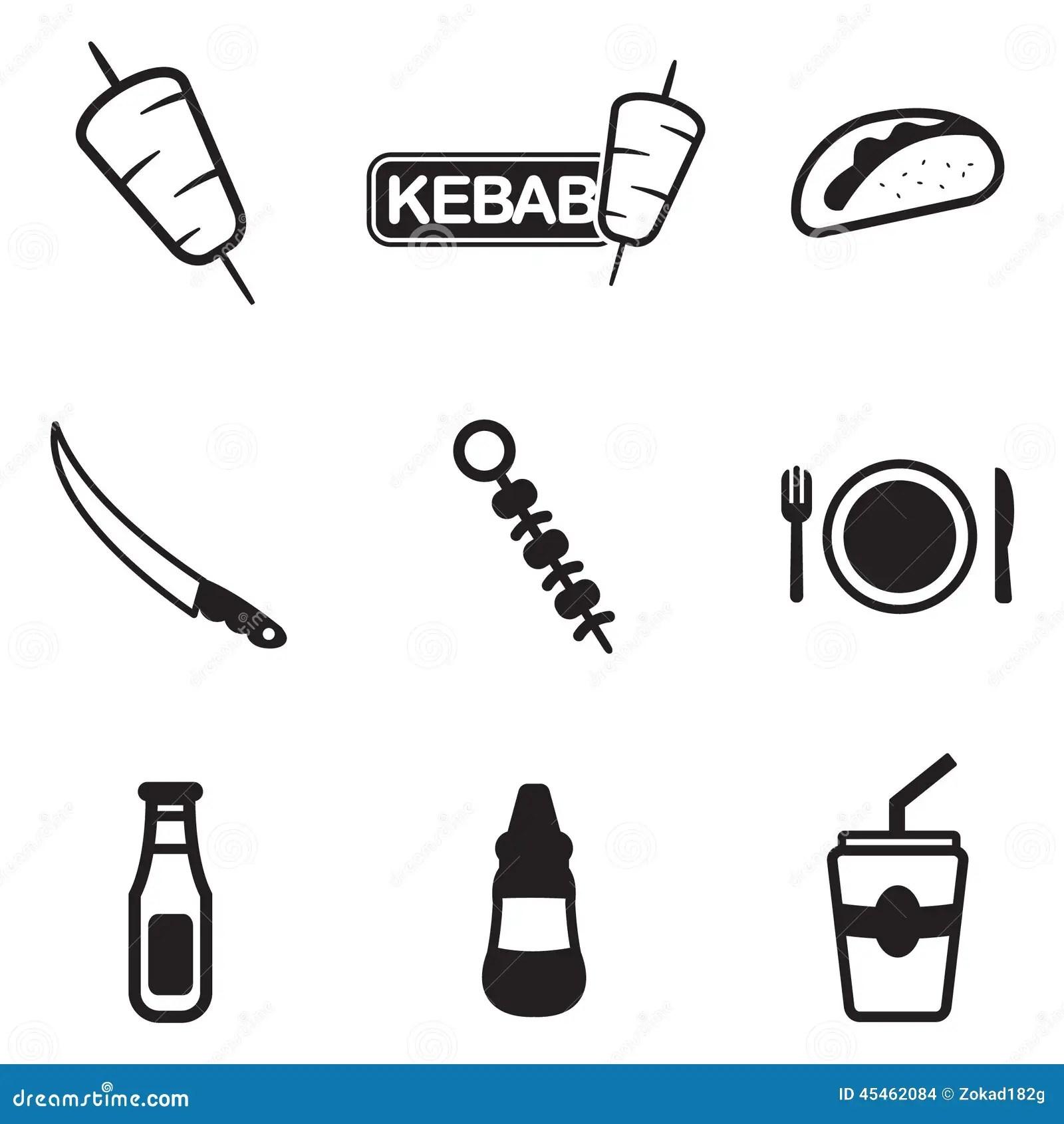Kebab Icons Stock Vector