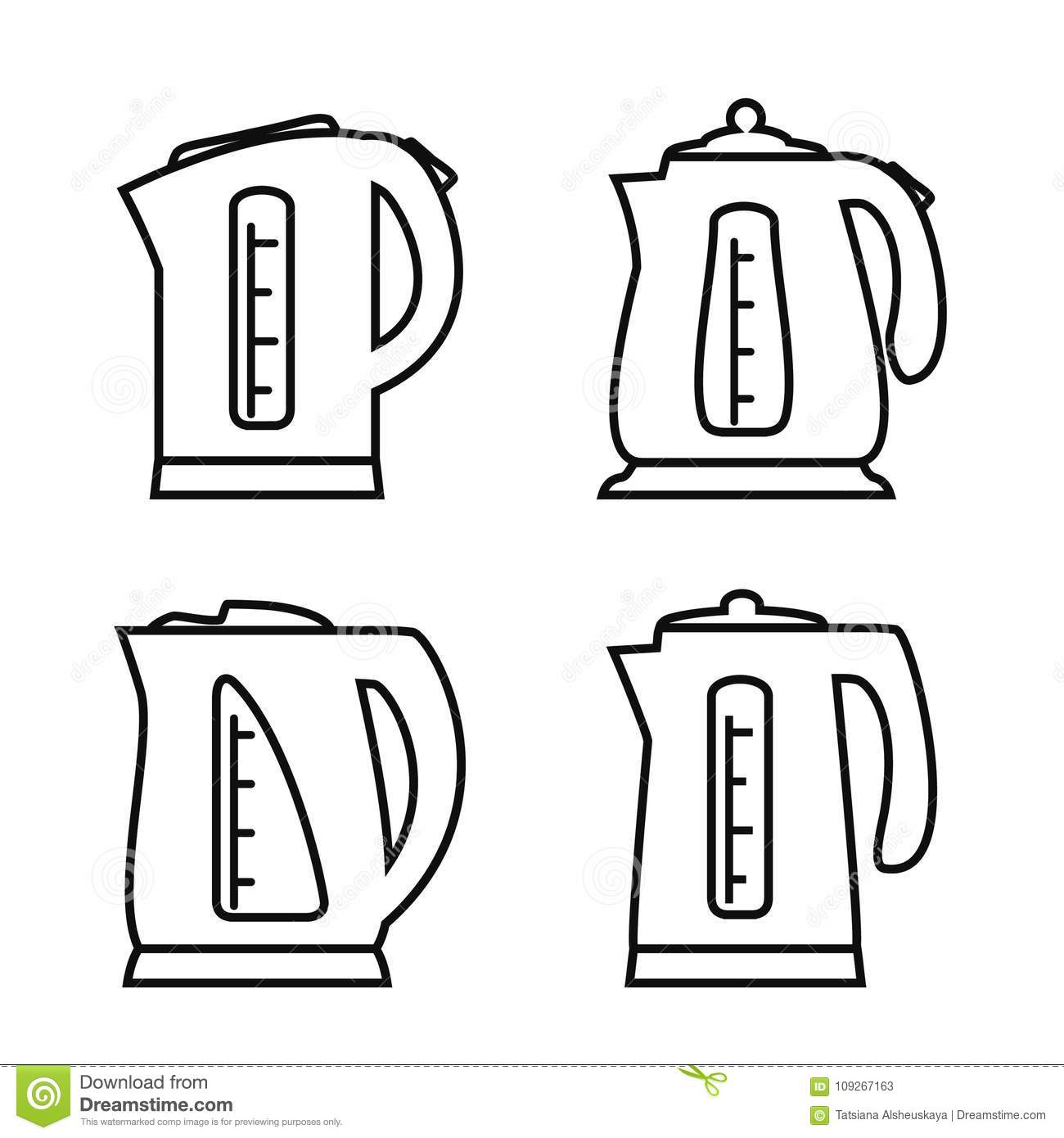 Kettle Electric Icon Set Of Teapot Icons In Line Design