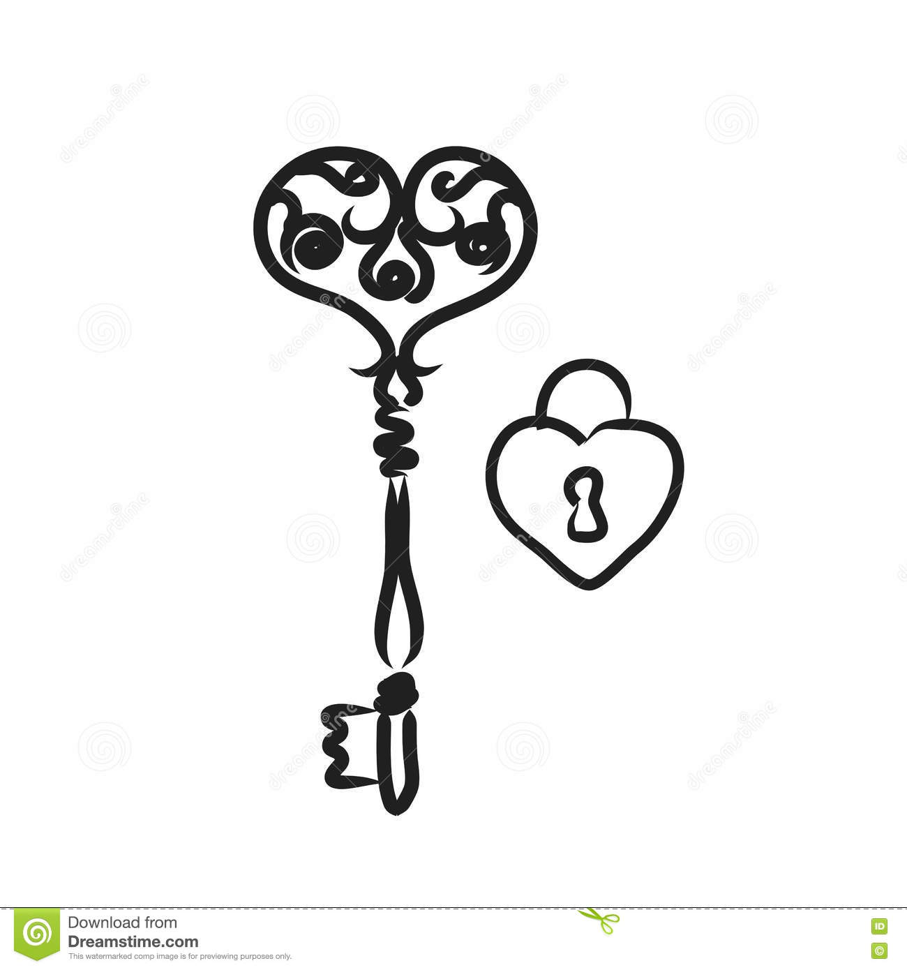Key With Heart Shape Lock Line Art Illustration Black And