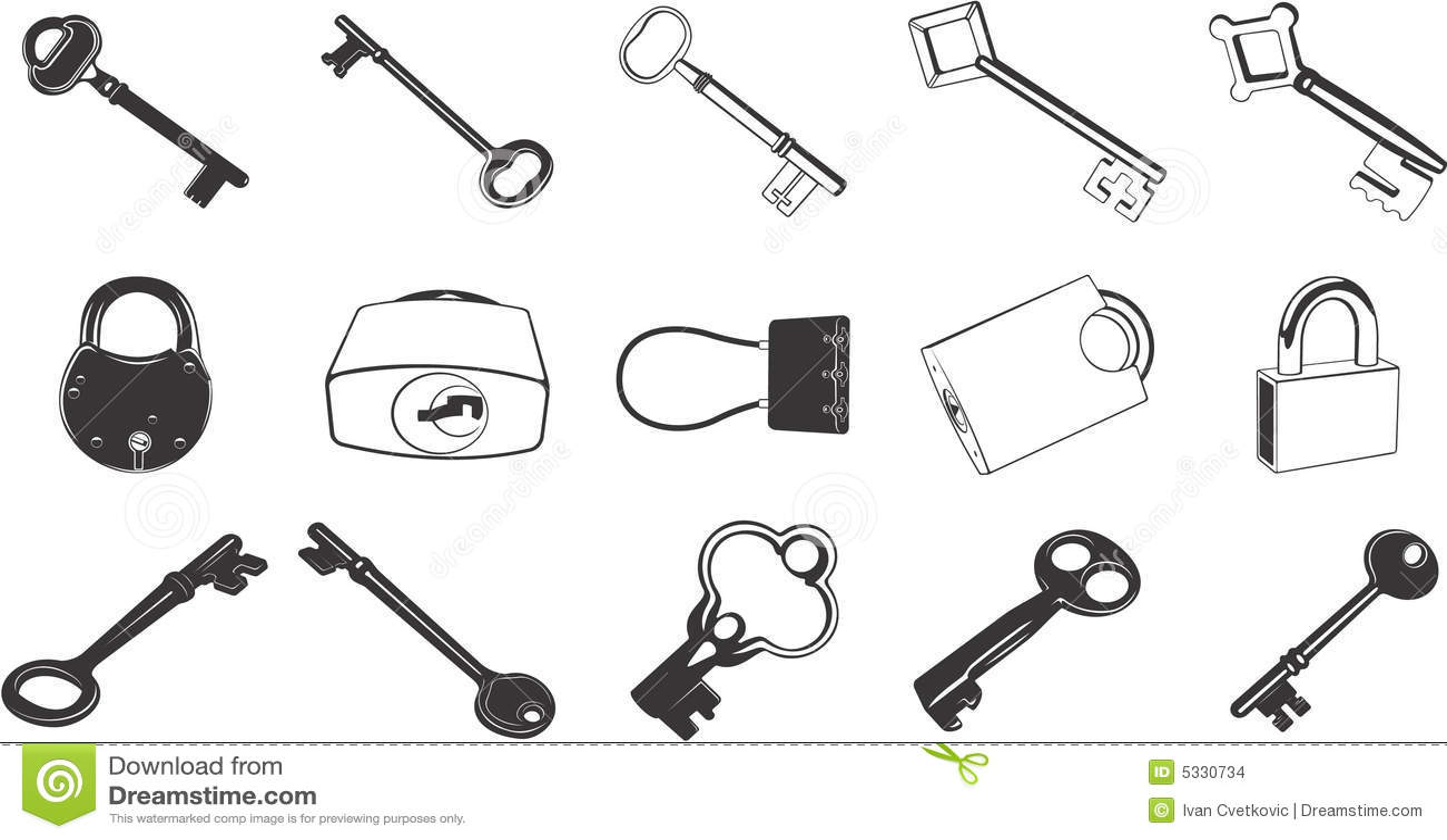 Key And Lock Illustration Set Stock Images