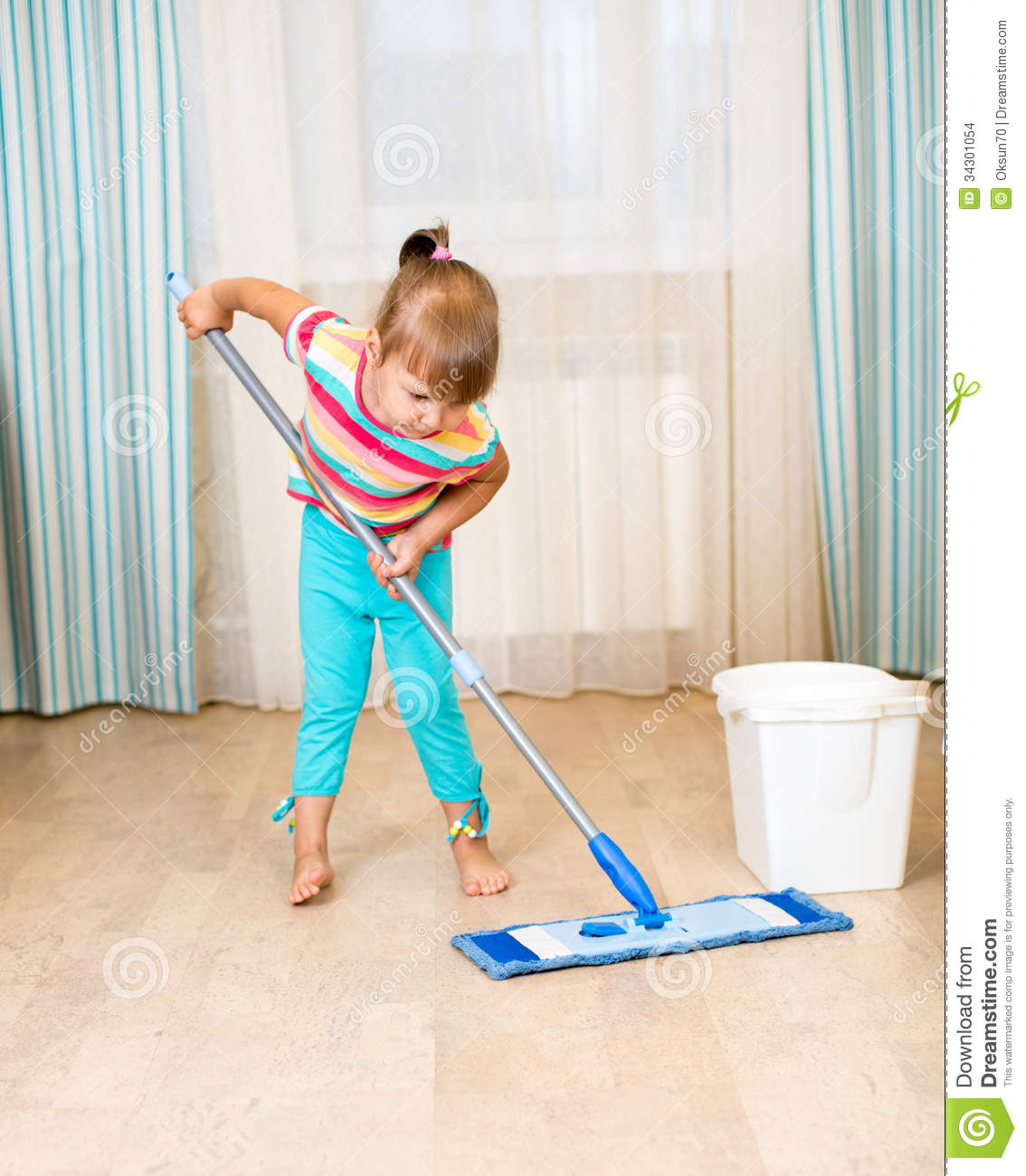 Kid Girl With Mop Stock Photo Image Of Identical