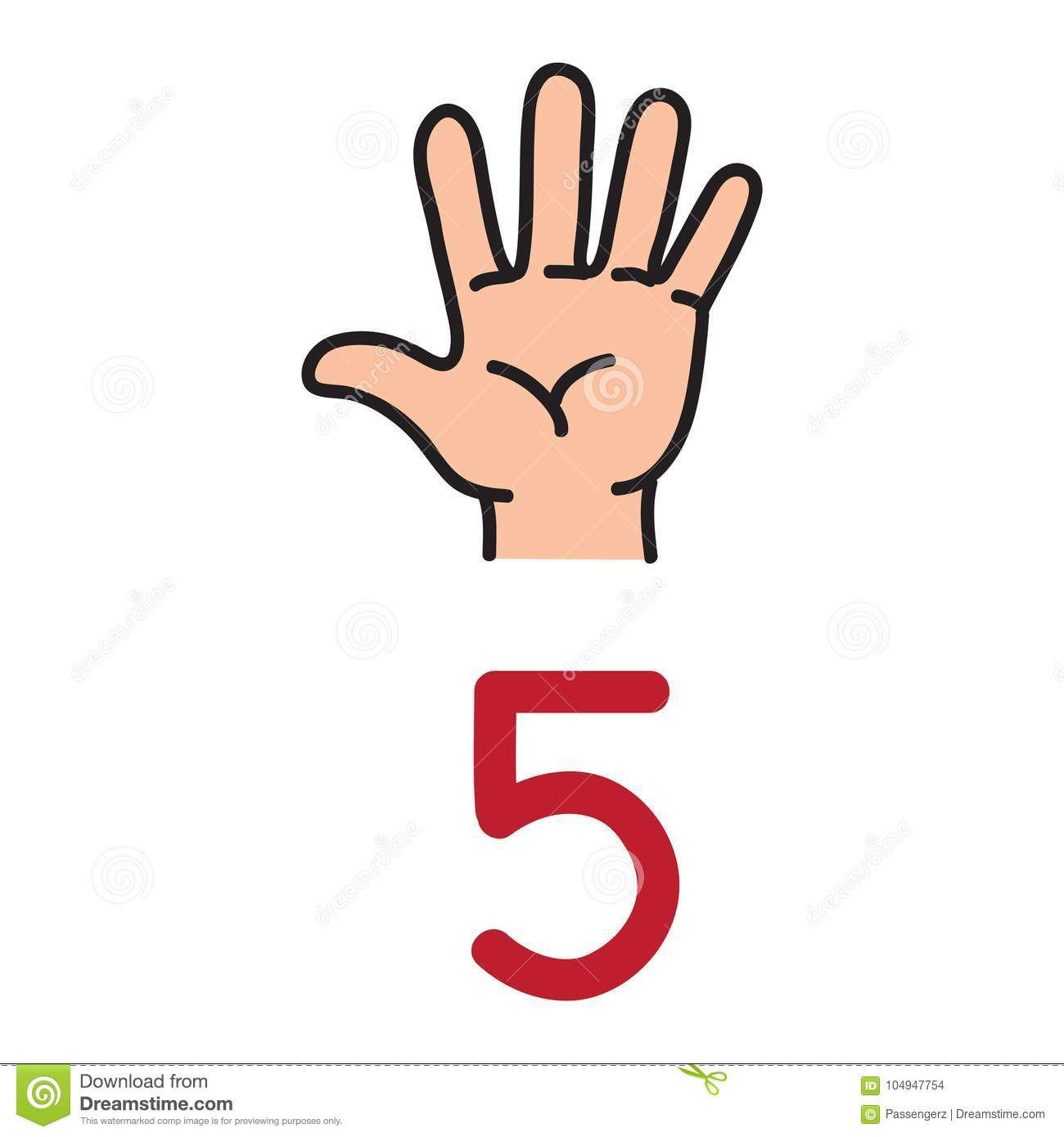 Kid S Hand Showing The Number Five Hand Sign Stock Vector