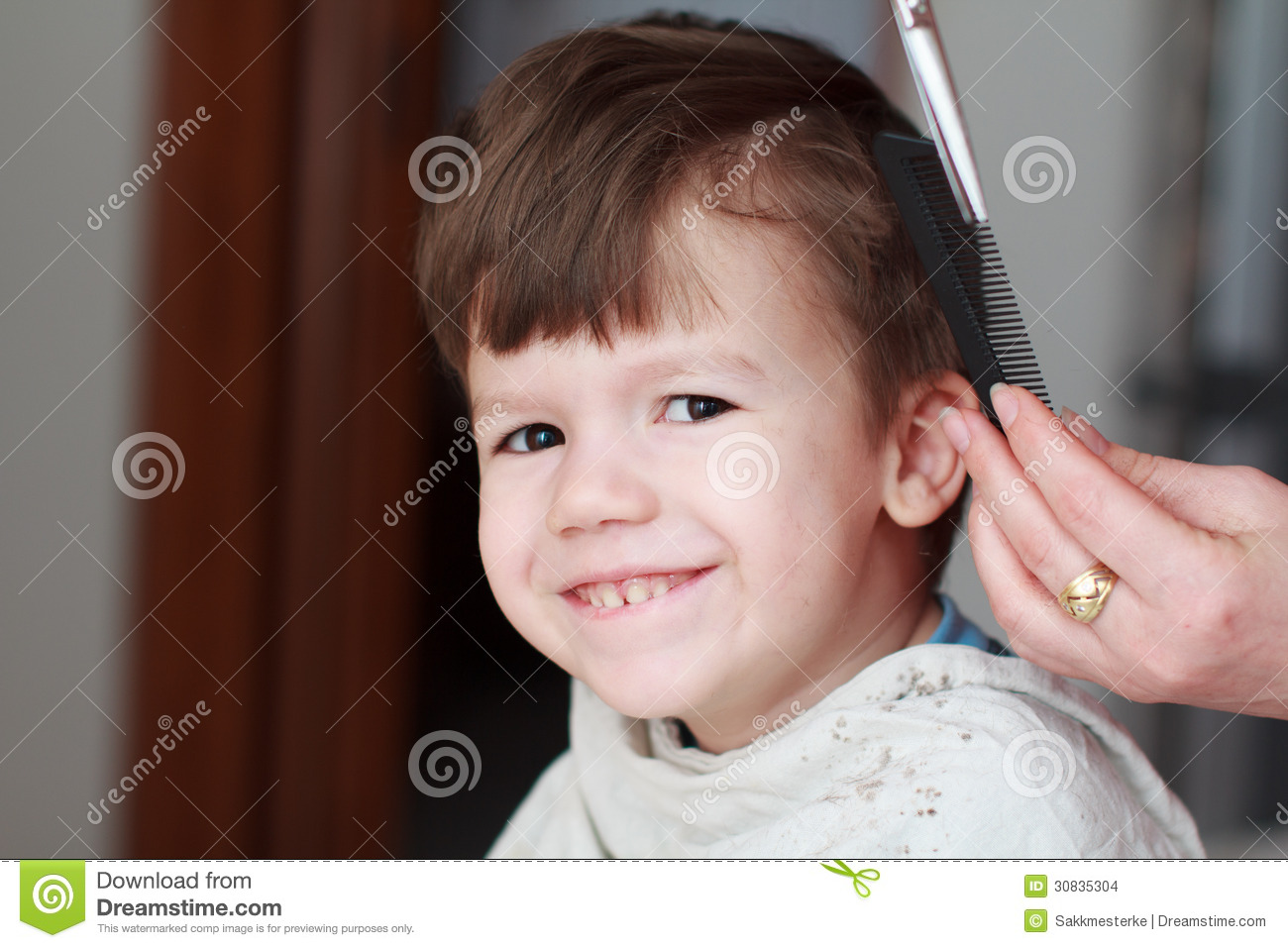 Kid With Teeth Smile Haircut Stock Images Image 30835304