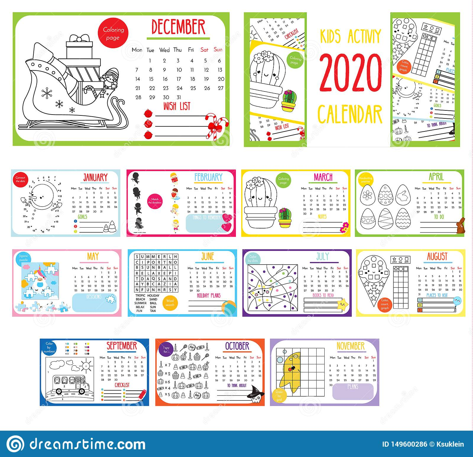 Kids Activity Calendar Annual Calendar With